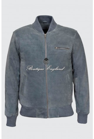 Men's 275 Grey Suede Classic Bomber Style Fitted Real Leather Jacket