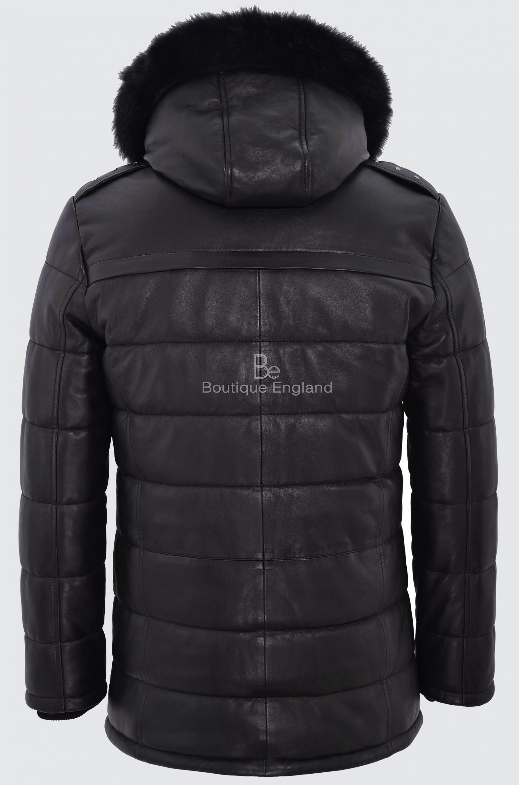 Men S Puffer Hooded Leather Jacket