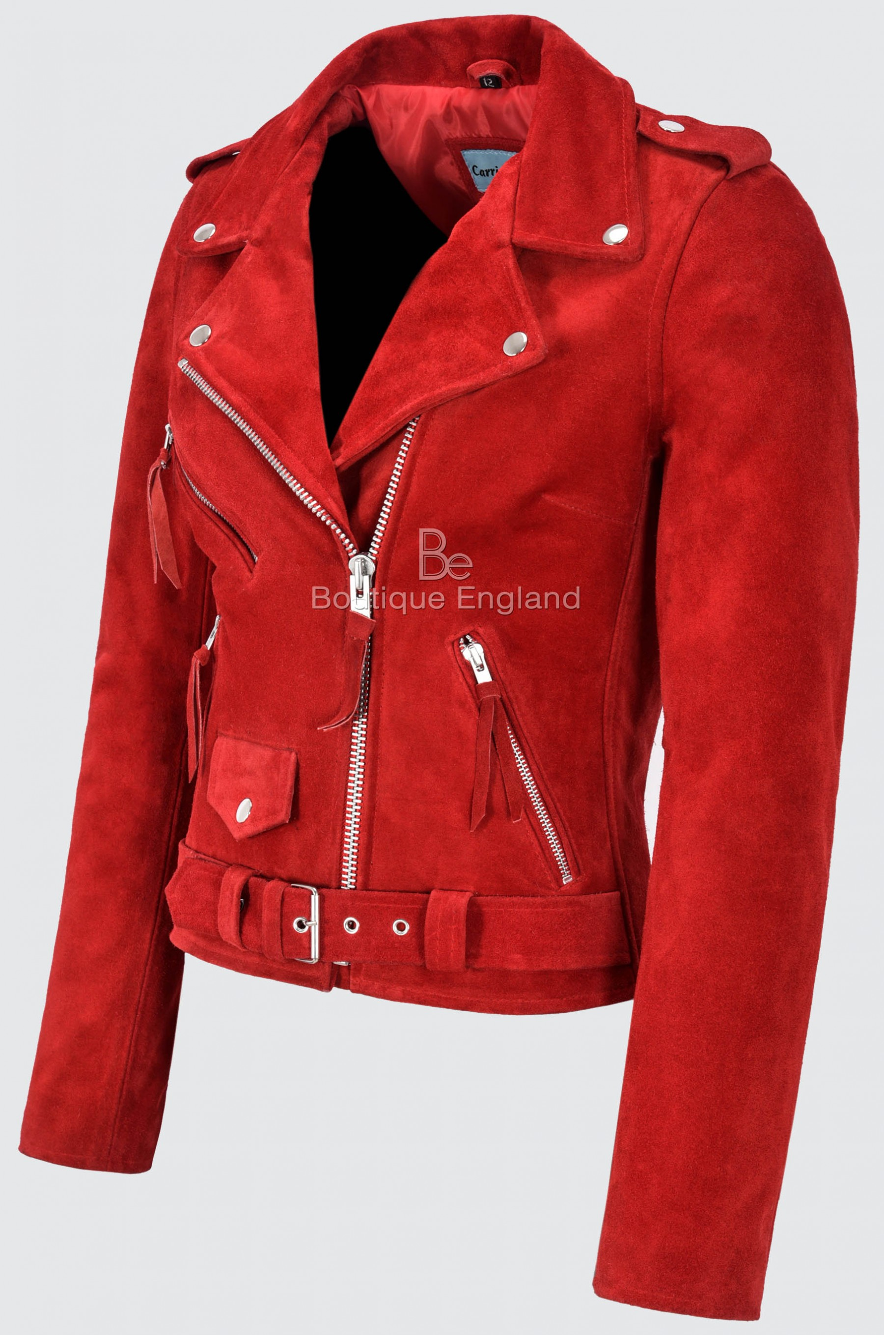 Ladies Brando Leather Jacket Red Suede Fitted Biker