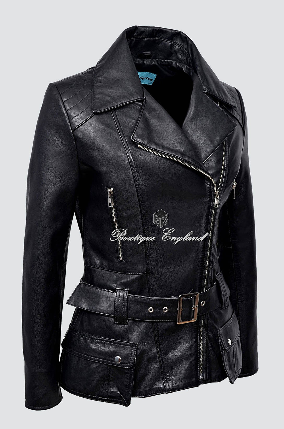/' FEMININE/' Ladies Leather Jacket Black Waist Belt 100/% SOFT Real Leather 2812
