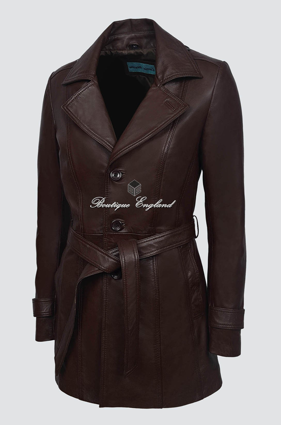 Ladies Trench Brown Leather Coat