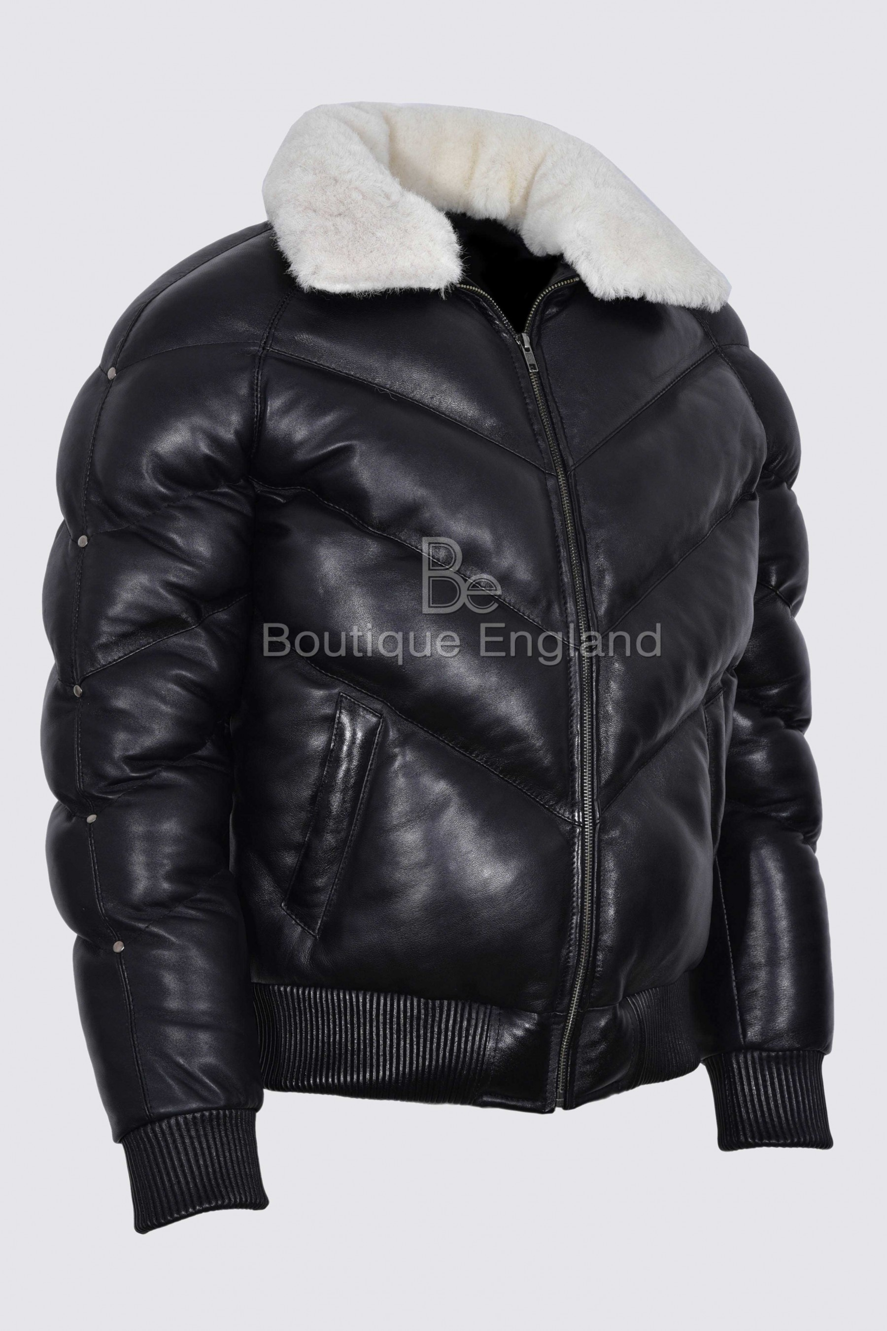 Ace Men S Puffer Black Real Leather Jacket White Shearling