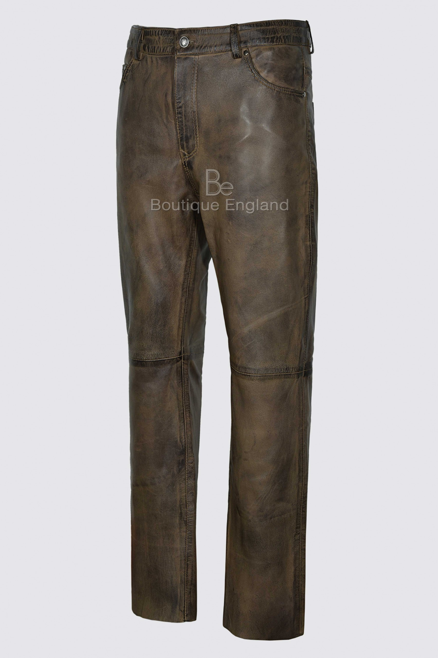 Mens Jeans Dirty Brown Waxed Real Leather Motorcycle