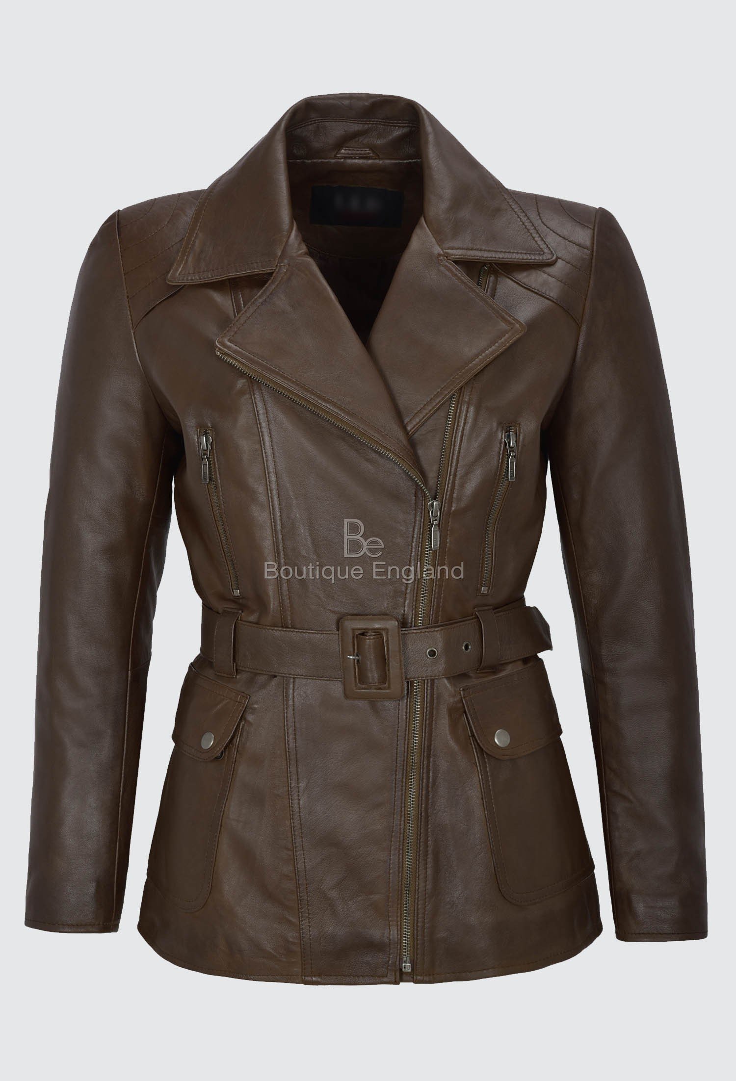 Ladies Trench Coat Leather Brown Mid Length Classic Real