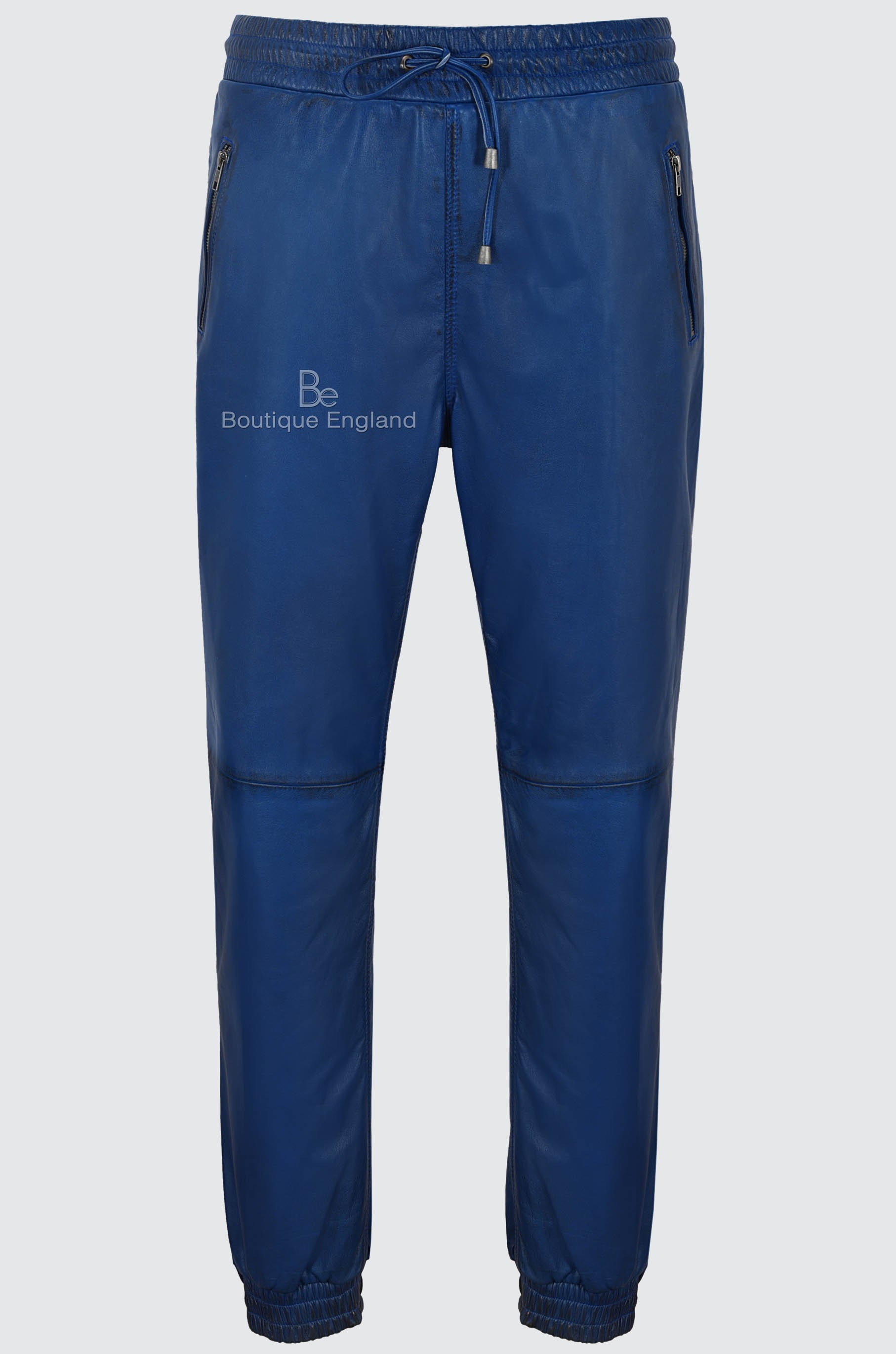 Men's Real Leather Trousers Blue Napa Sweat Track Pant Zip Jogging Bottom 3040