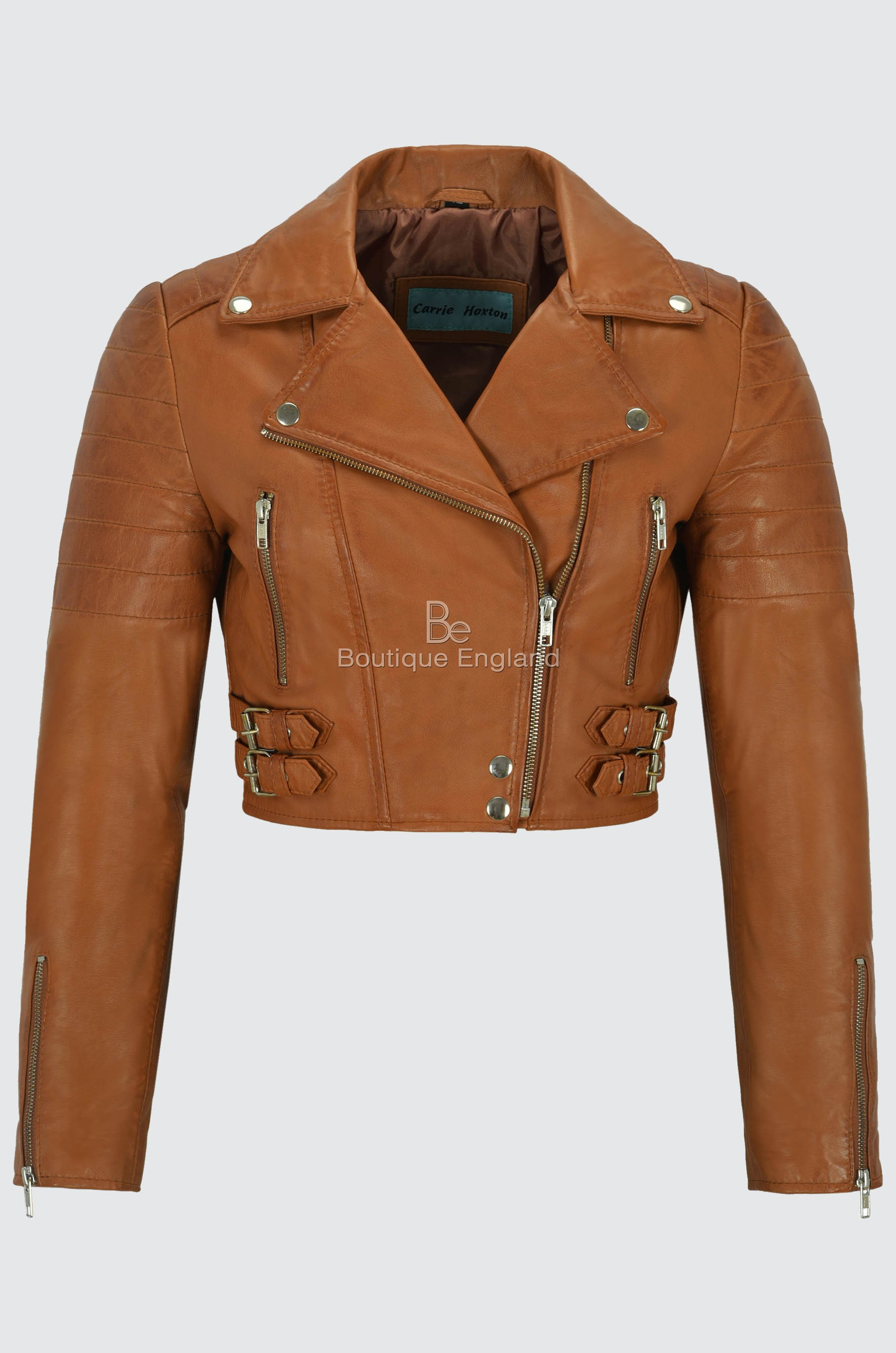 Ladies Short Body Leather Jacket Tan Slim Fit Short Biker Style Lambskin 5625
