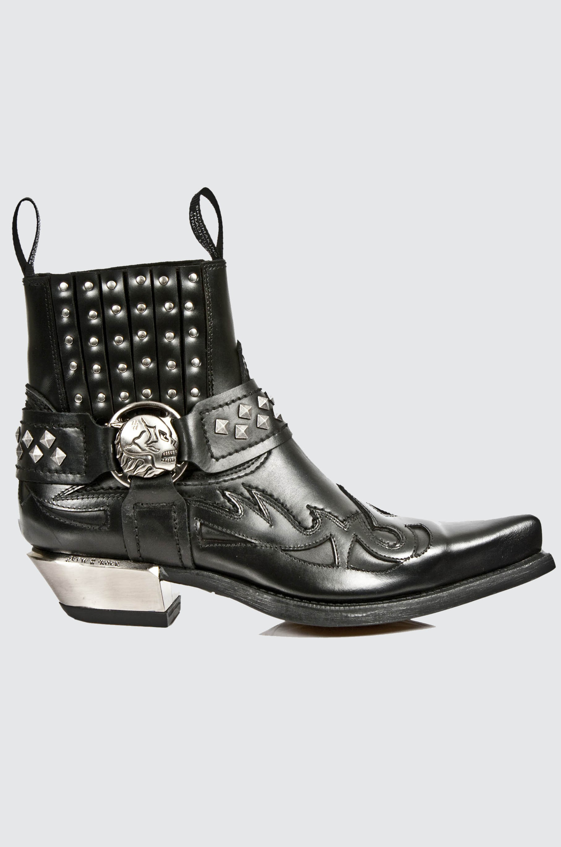 NEW ROCK M.7950-S1 Black Ankle Boots Western Goth Strap Skull Stud Metal
