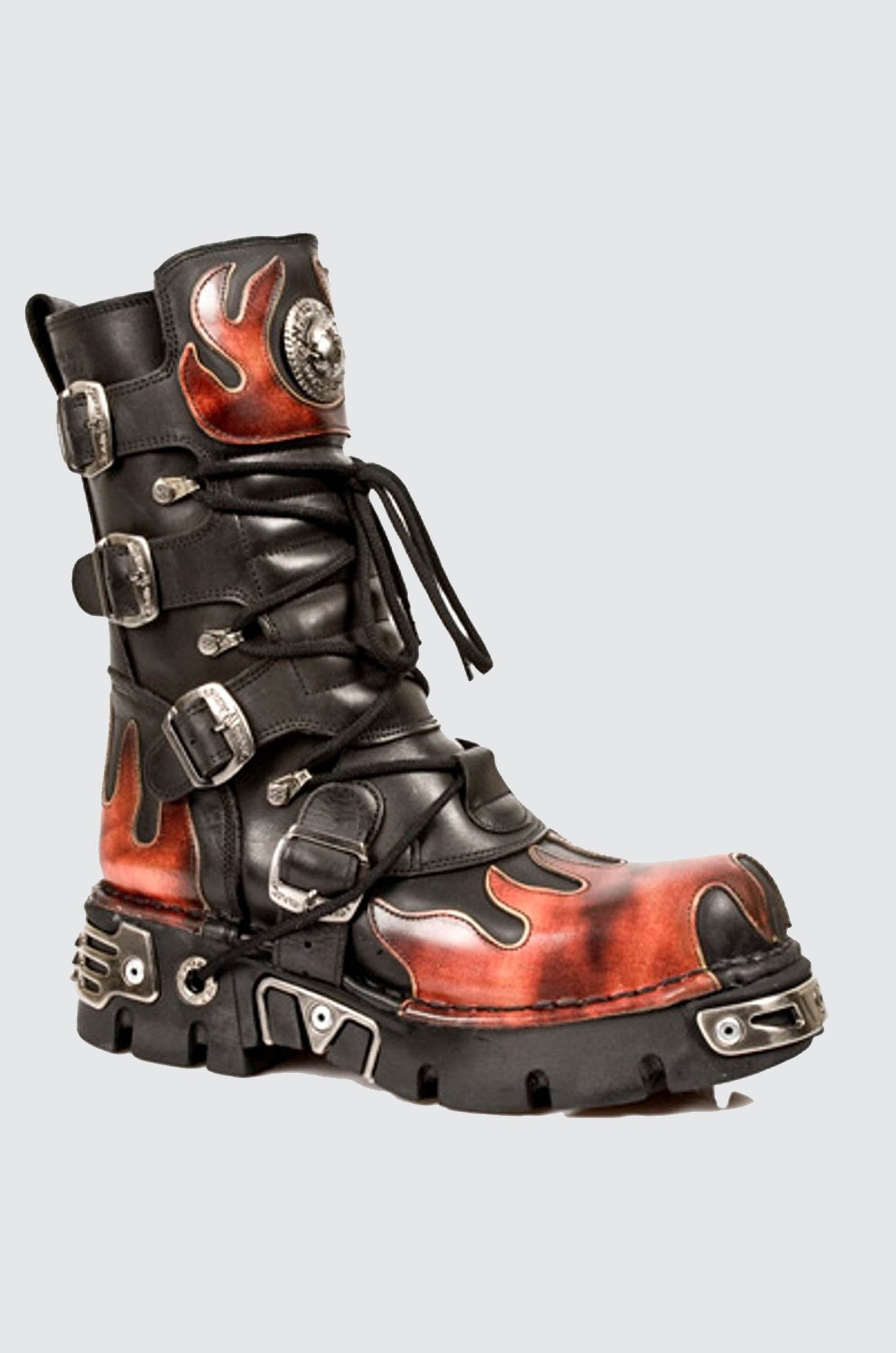 New Rock 591-S1 RED FLAME METALLIC BLACK LEATHER BOOT BIKER GOTH BOOTS