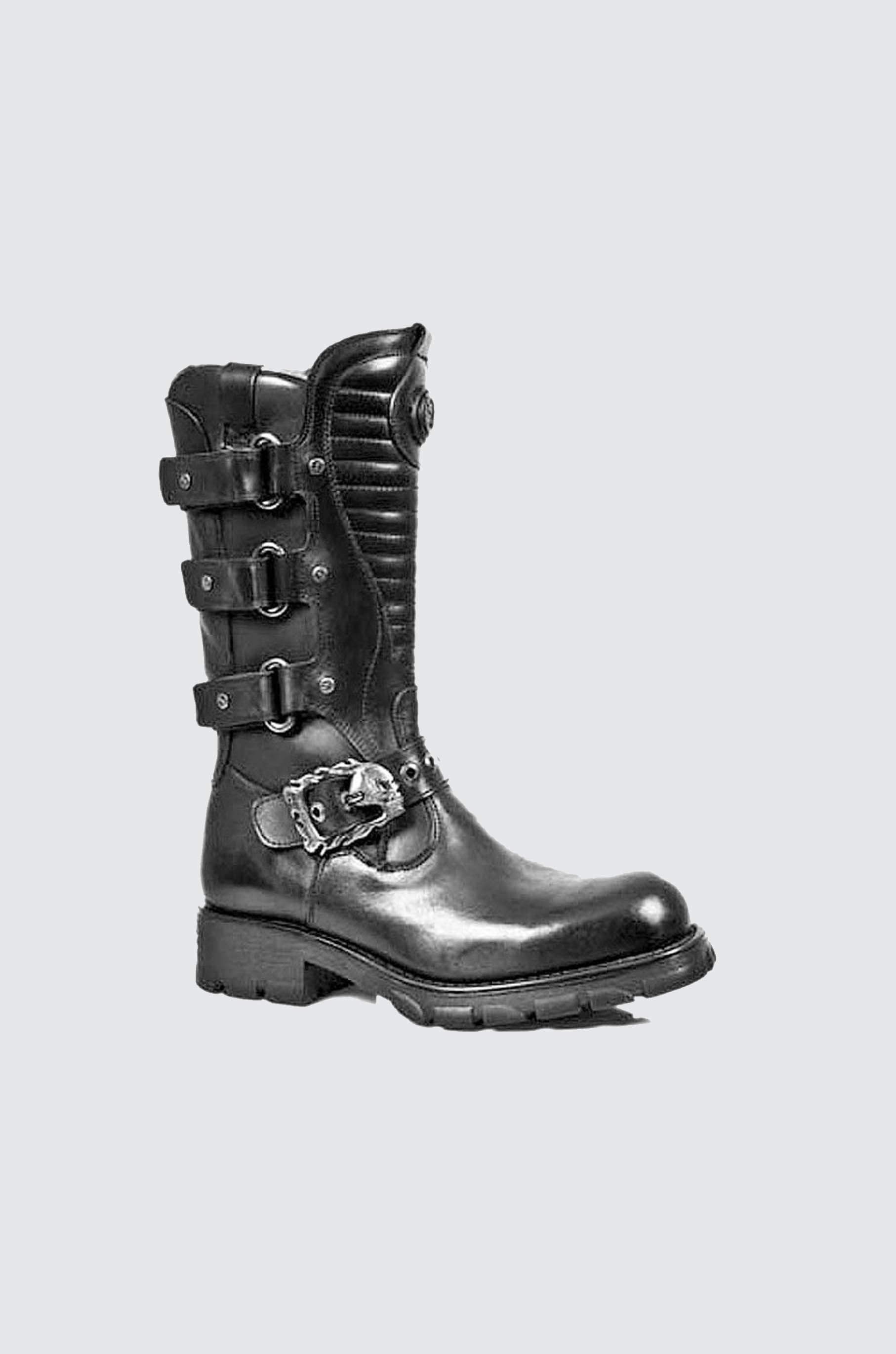 NEW ROCK 7604 S1 LEATHER BIKER BOOTS REACTOR SOLE METALLIC GOTH