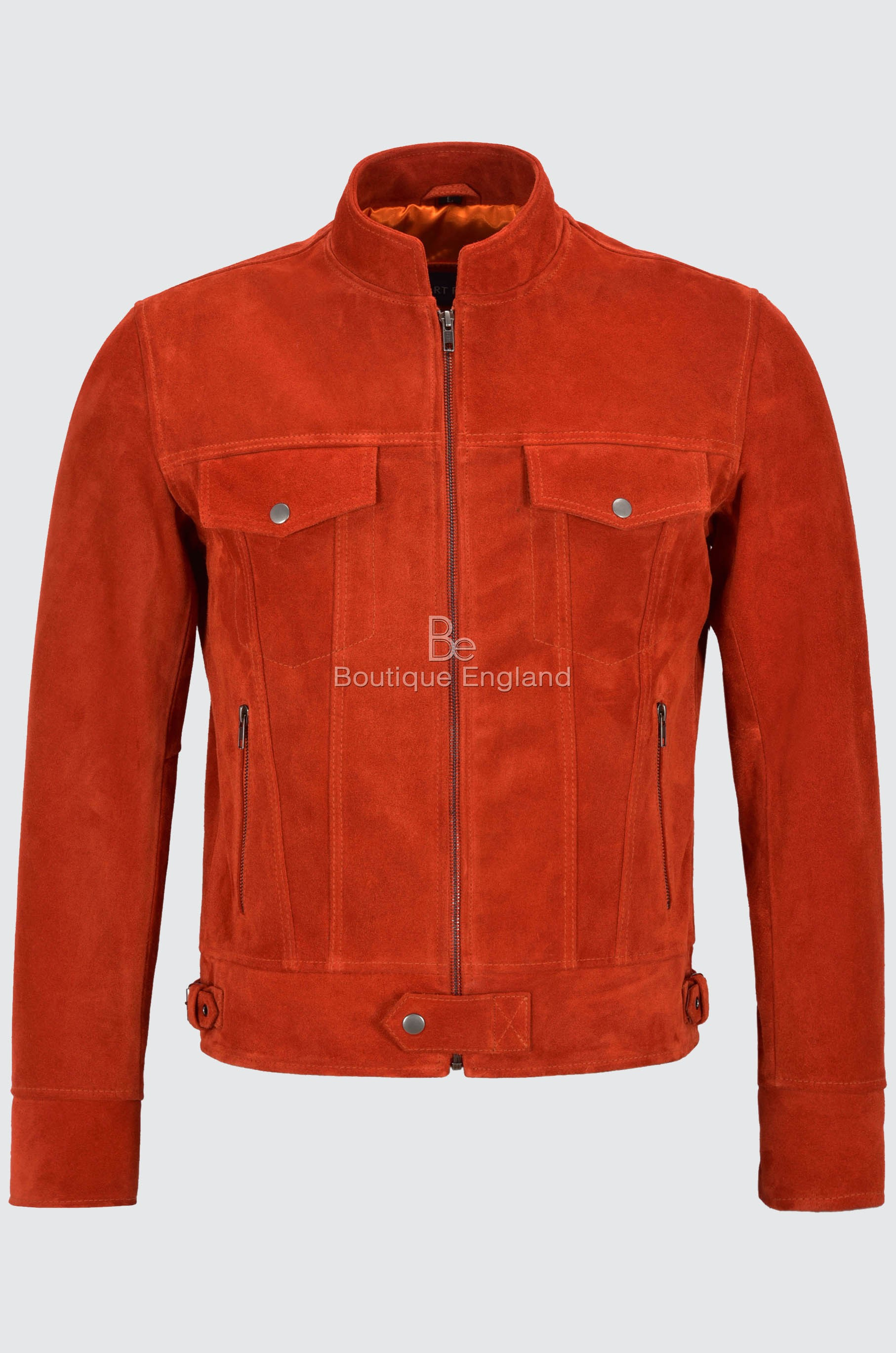 Men's TRUCKER Leather Suede Jacket Orange Classic SOFT Biker Motorcycle Style Real Hide 1345