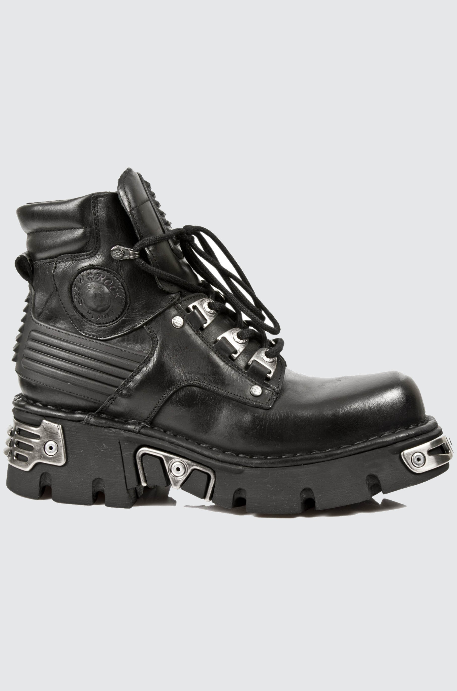 New Rock M.924-S1 Metallic Mens Black Gothic boot Leather Boots