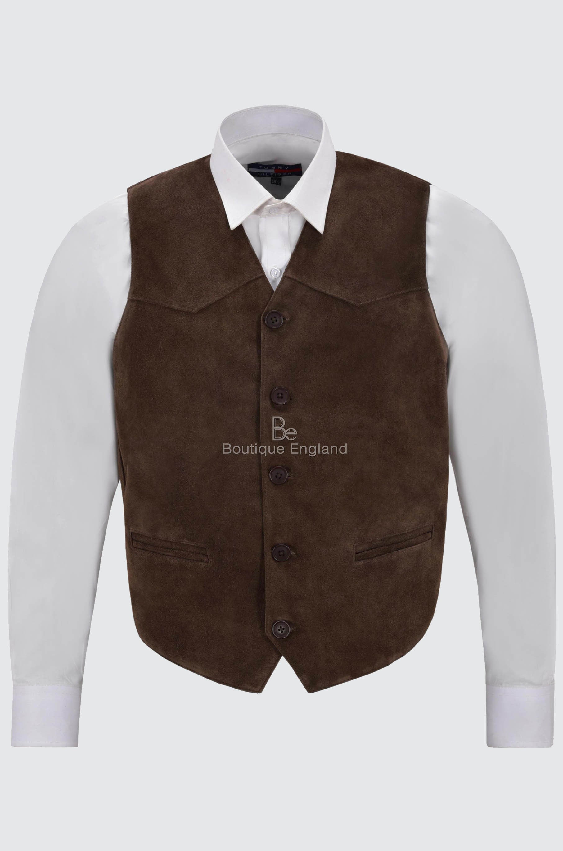 Suede Western Real Leather Waistcoat Brown Zara Festival Cowboy Vest Party Men's WYED2HIe9