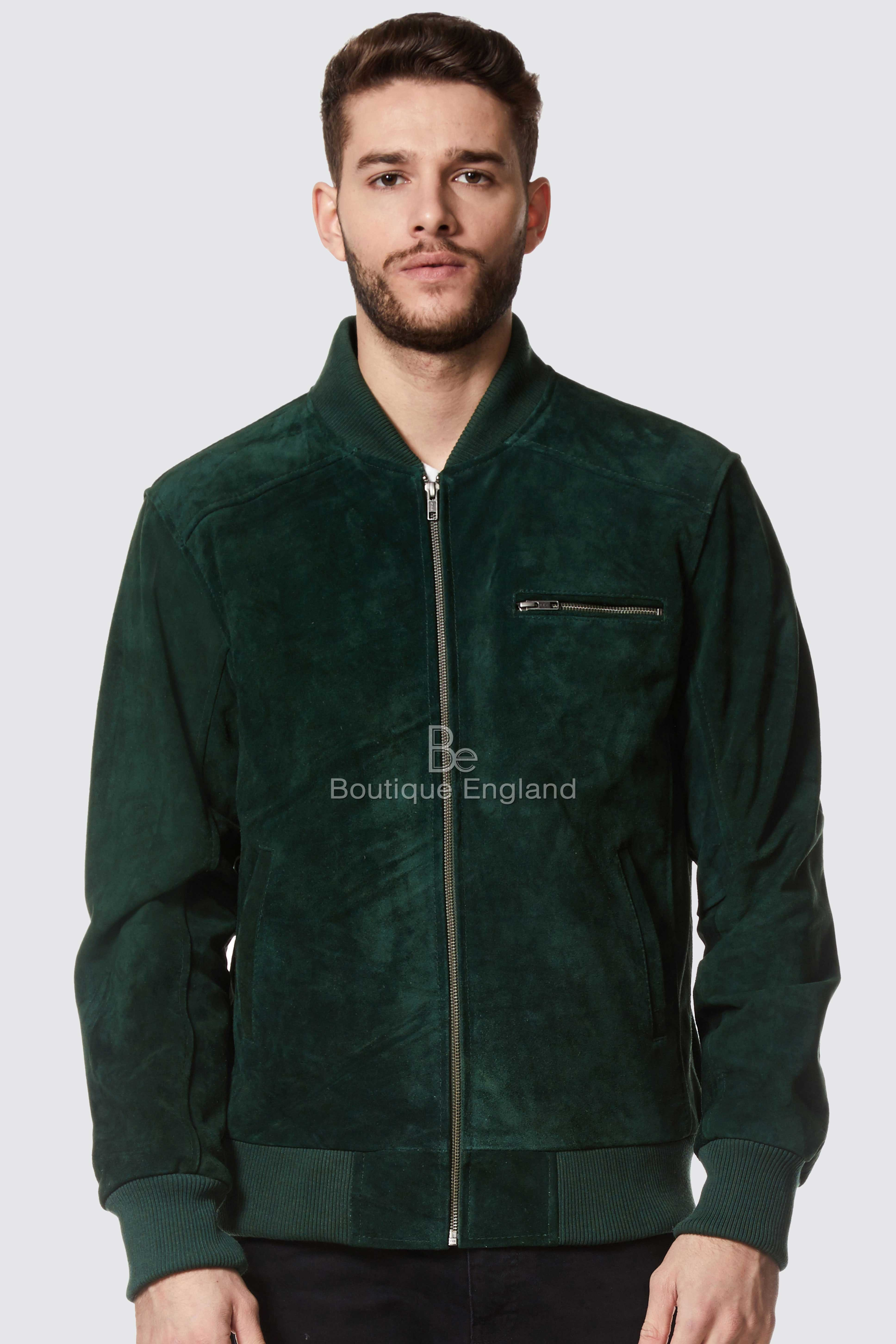 Men's Green Suede Classic Bomber Style Fitted Real Leather Jacket 275-z