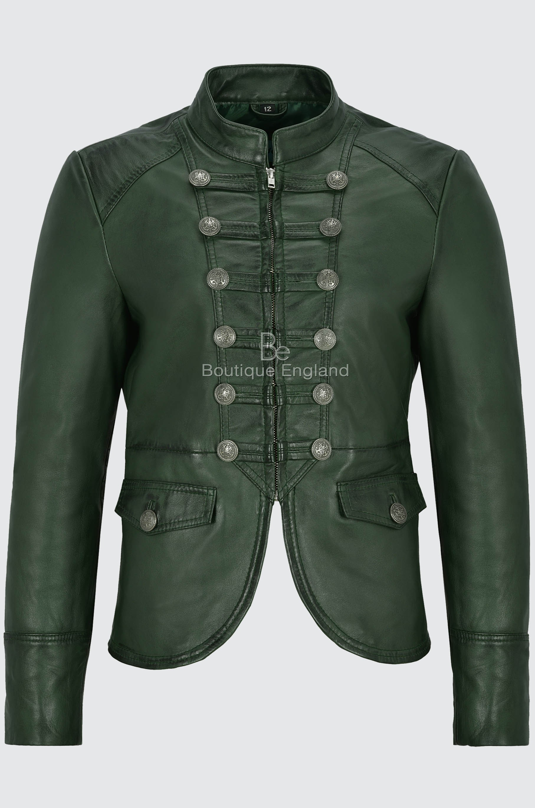 Ladies Leather Jacket Green Victory Military Parade Style Real