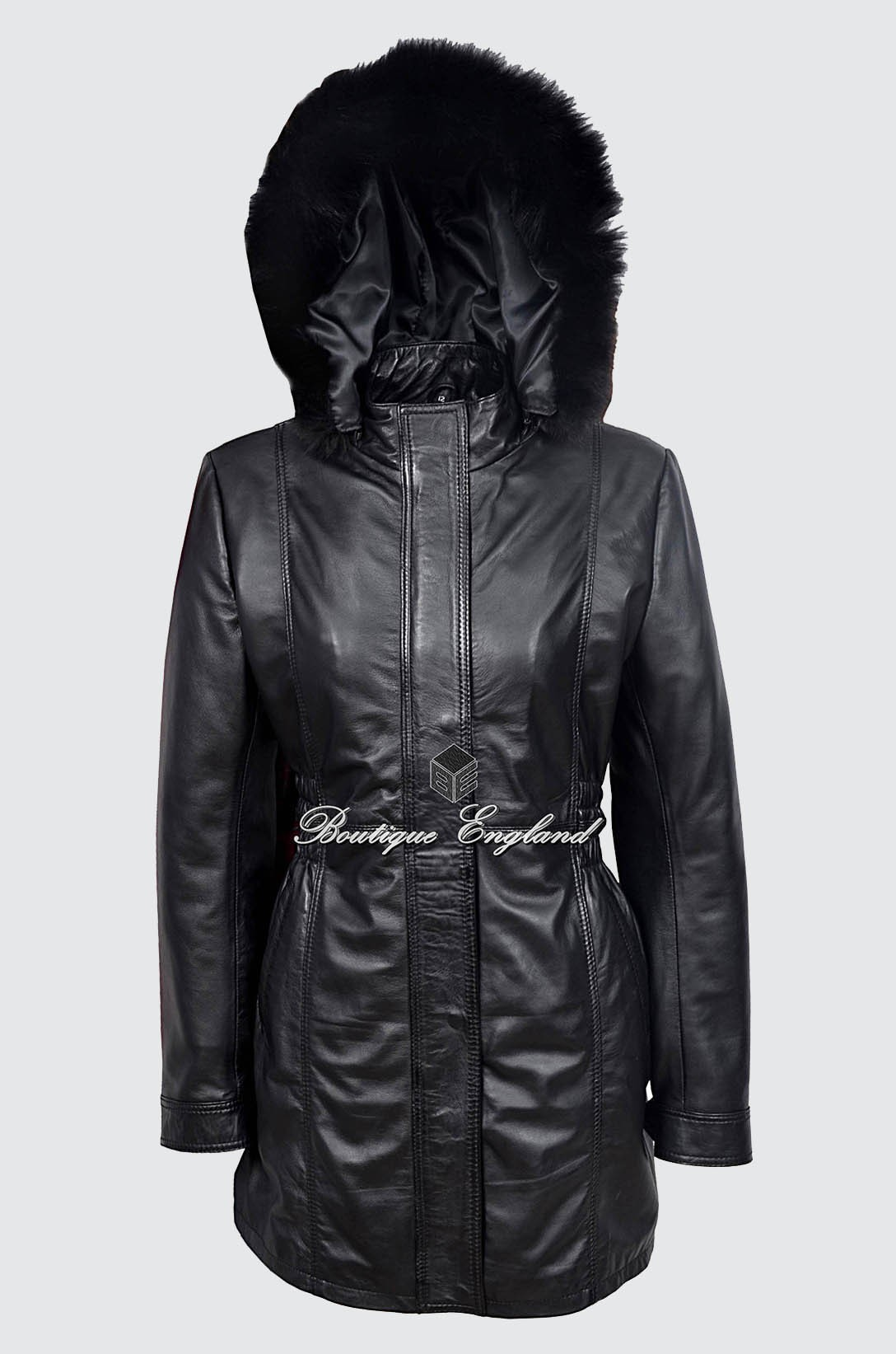 SYLVIA Ladies Alice Black Classic SYLVIA MidLength Fur Collar Real Leather Jacket Coat