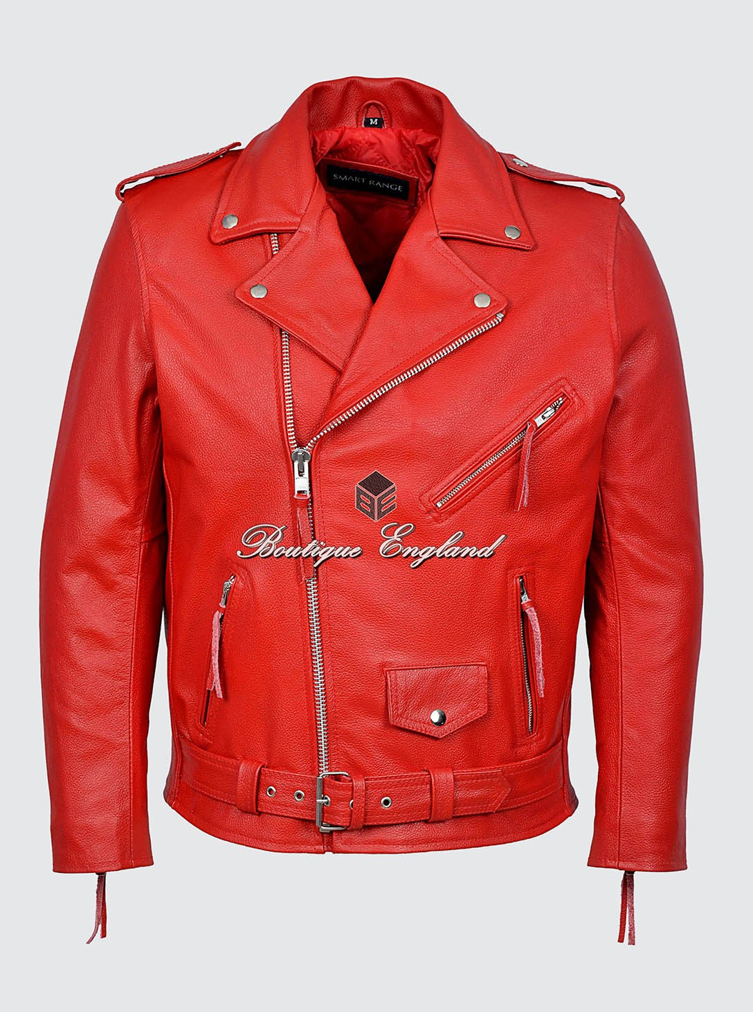 6ca5a23e0 BRANDO Men's MBF Red Classic Motorcycle Biker Cowhide Real Leather Jacket