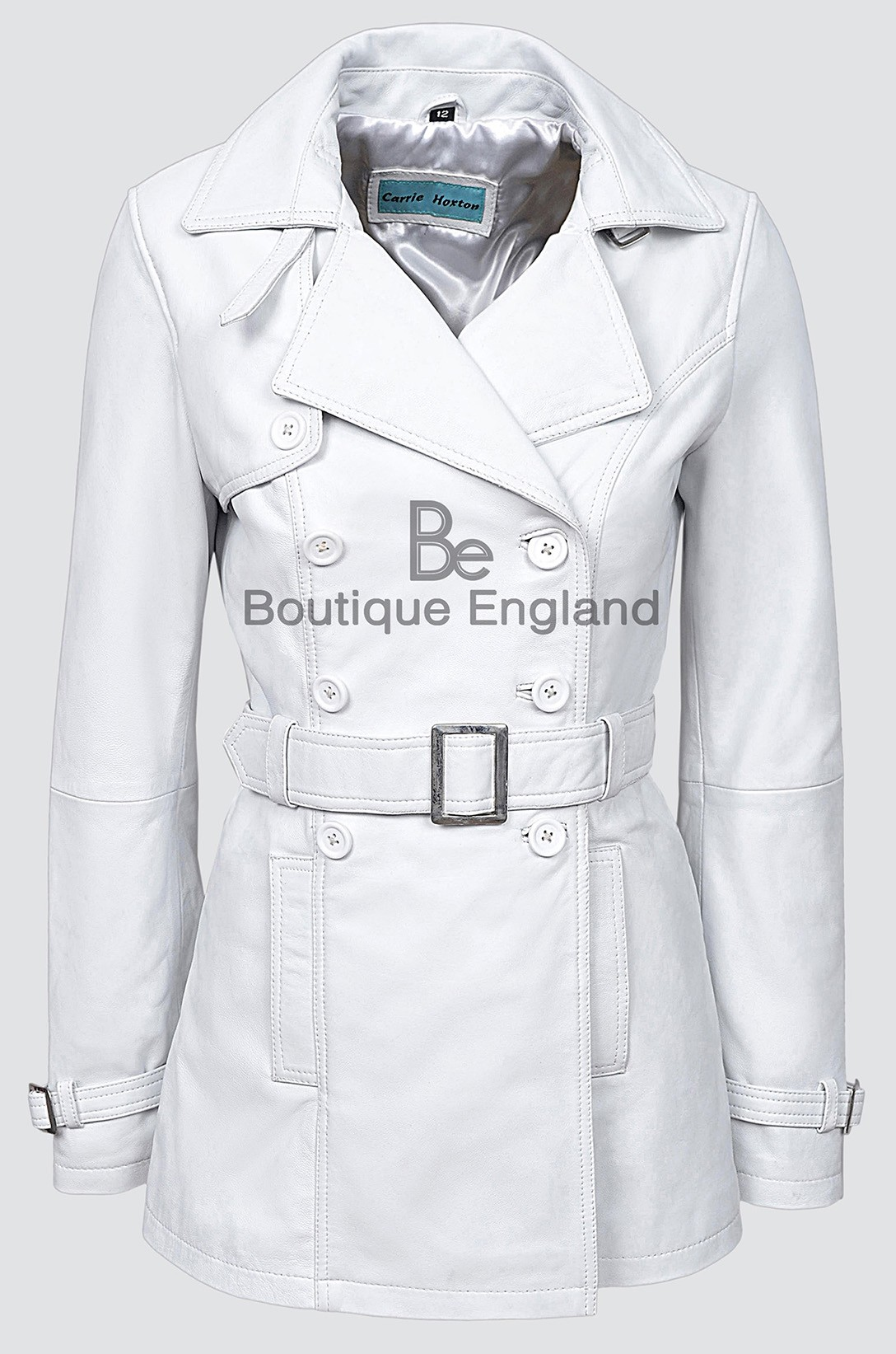 TRENCH White Ladies Classic Mid-Length Designer Real Nappa Leather Jacket Coat