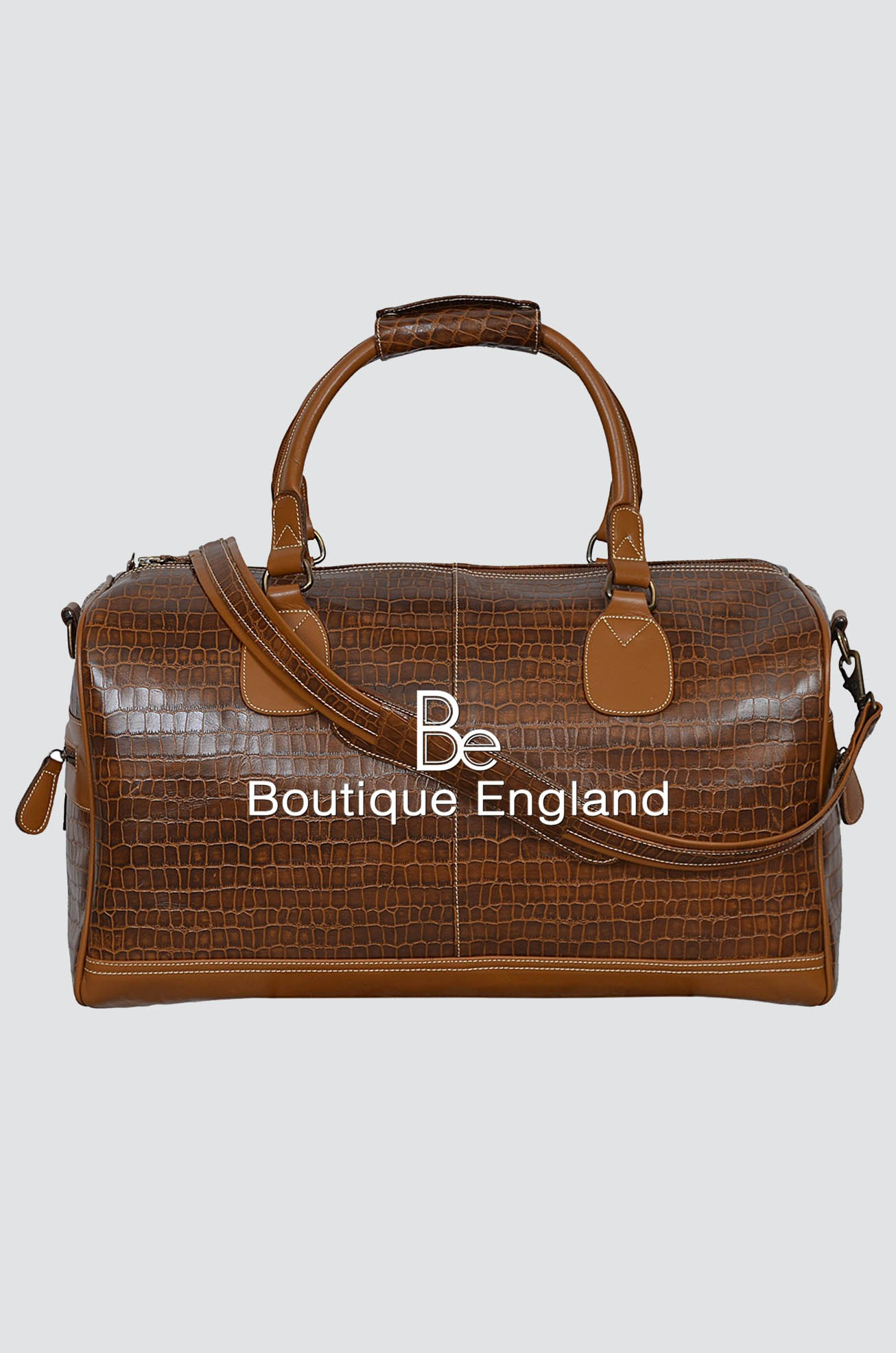 NEW 'DUFFLE' LARGE Weekend Tan Croc Holdall Travel Gym Real Genuine Leather Bag