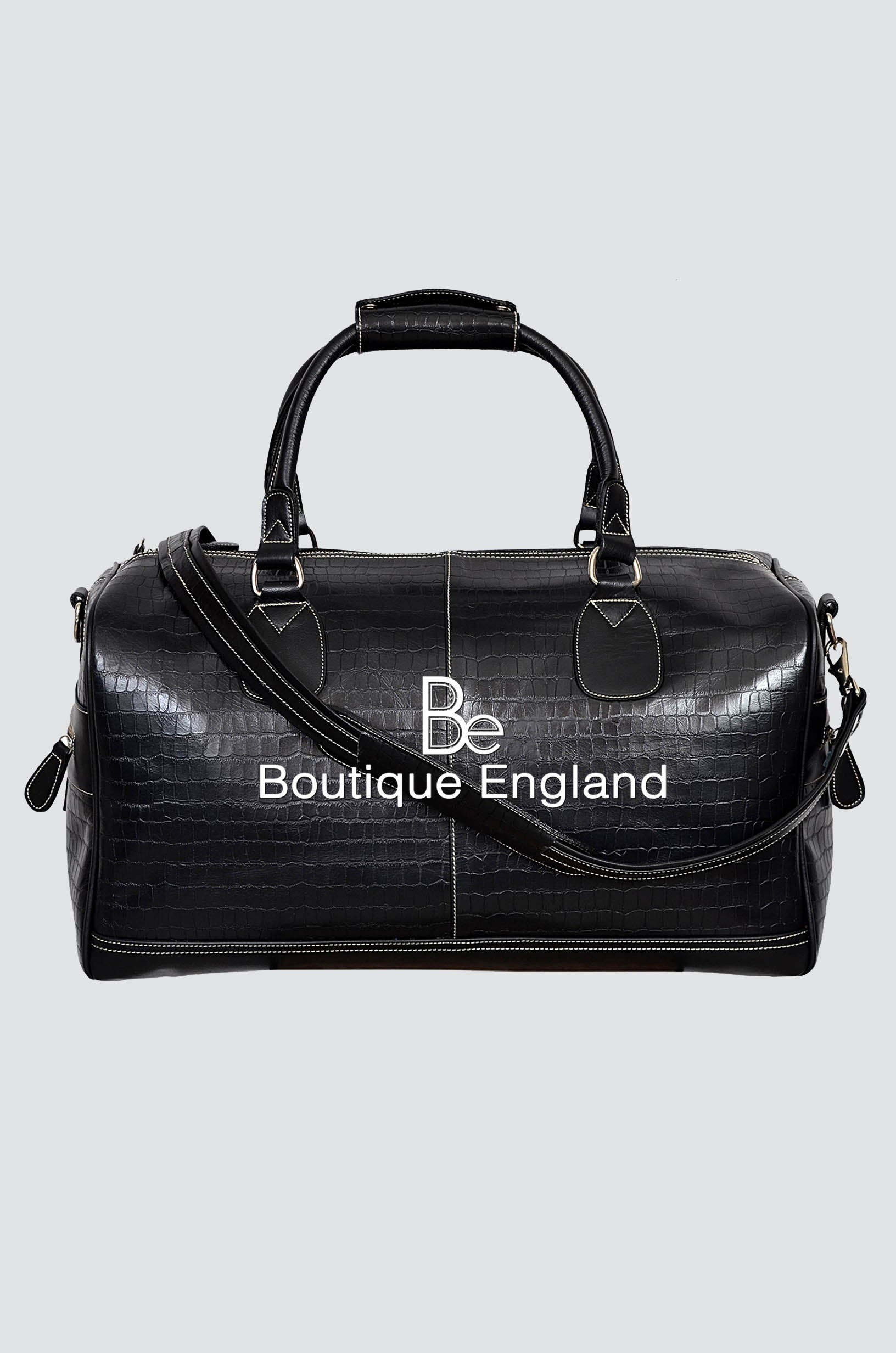 NEW 'DUFFLE' LARGE WEEKEND Black CROC HOLDALL TRAVEL GYM REAL GENUINE LEATHER BAG