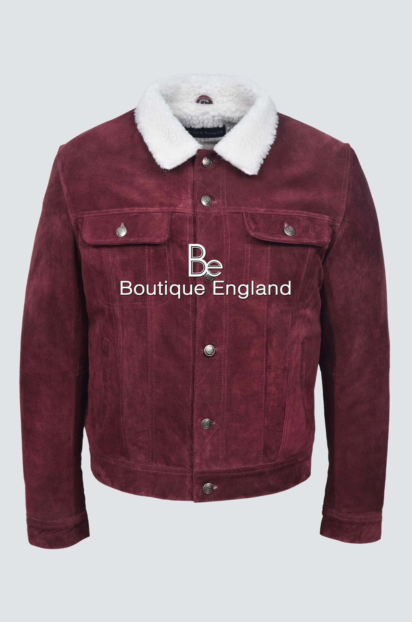 'TRUCKER' MEN'S 1280 Cherry SUEDE WITH SHEARLING FUR CLASSIC REAL SOFT COW WESTERN LEATHER JACKET