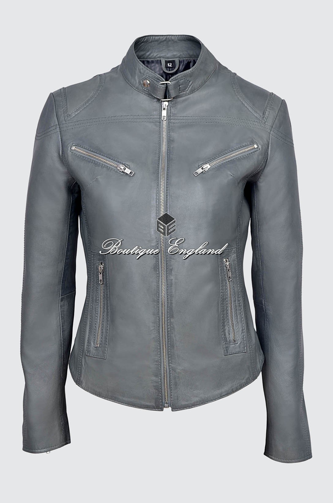 New 'SPEED' Ladies Grey Retro Biker Style Fitted Motorcycle Leather Jacket SR-01