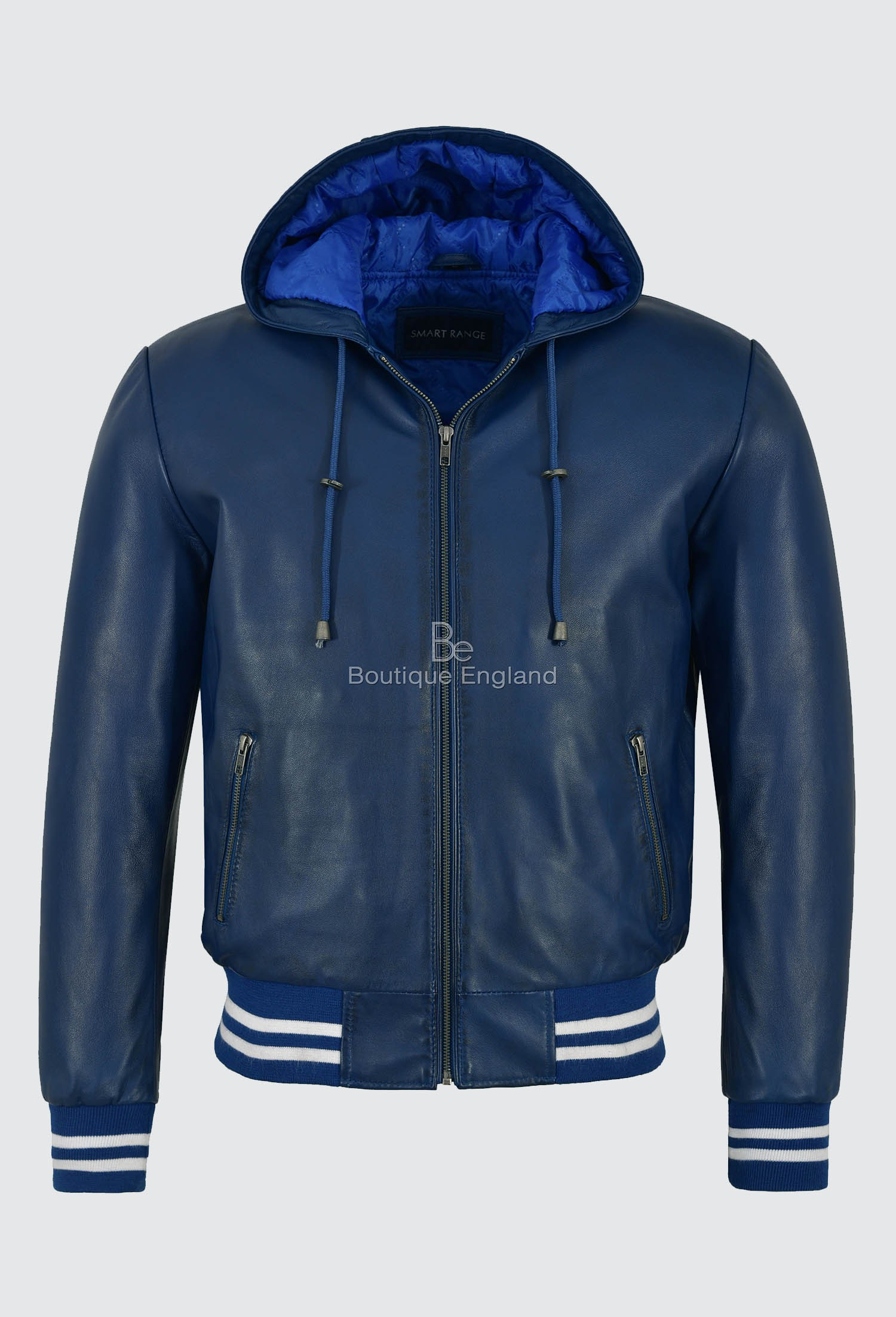 Men/'s Blue Classic Hooded Baseball Bomber Style Real Napa Leather Jacket Coat