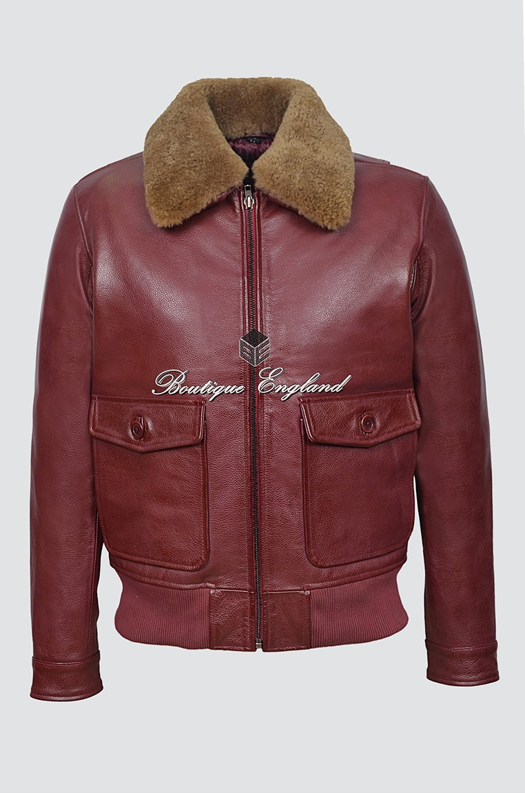 JOHNSON Men's 3070 Cherry Cowhide Ginger Shearling Collar WW2 Slim fit Flight Leather