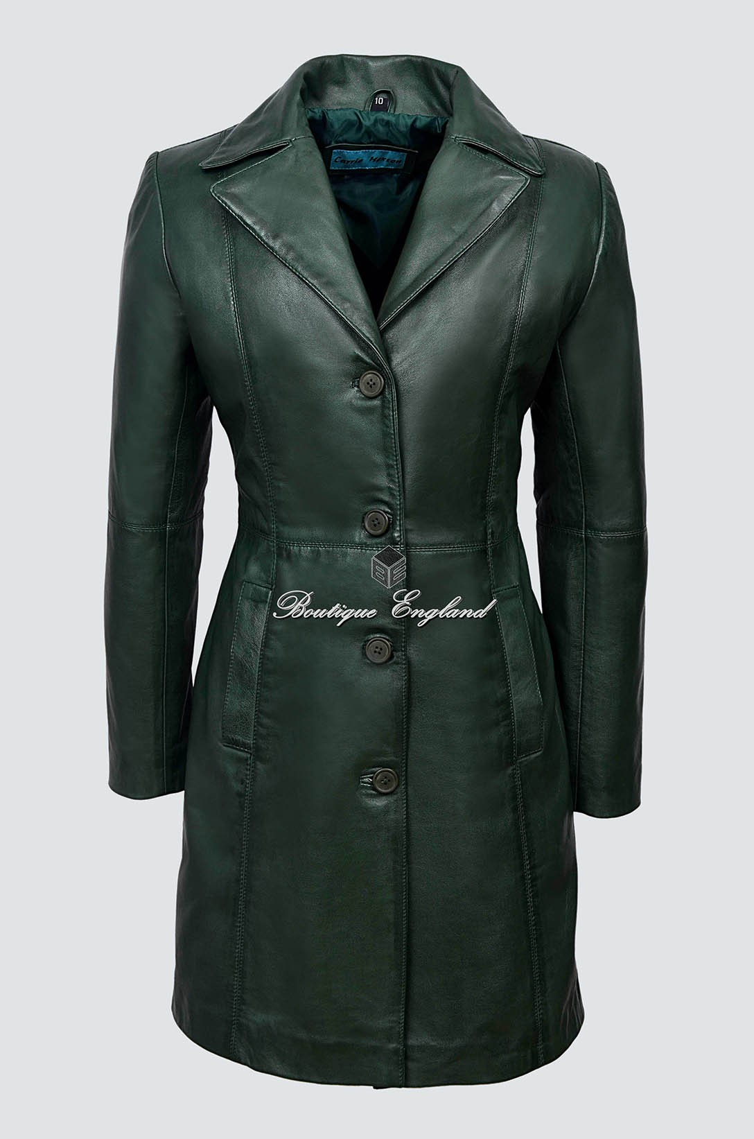 ed8e04ff3a7 Ladies Trench Green Leather Coat
