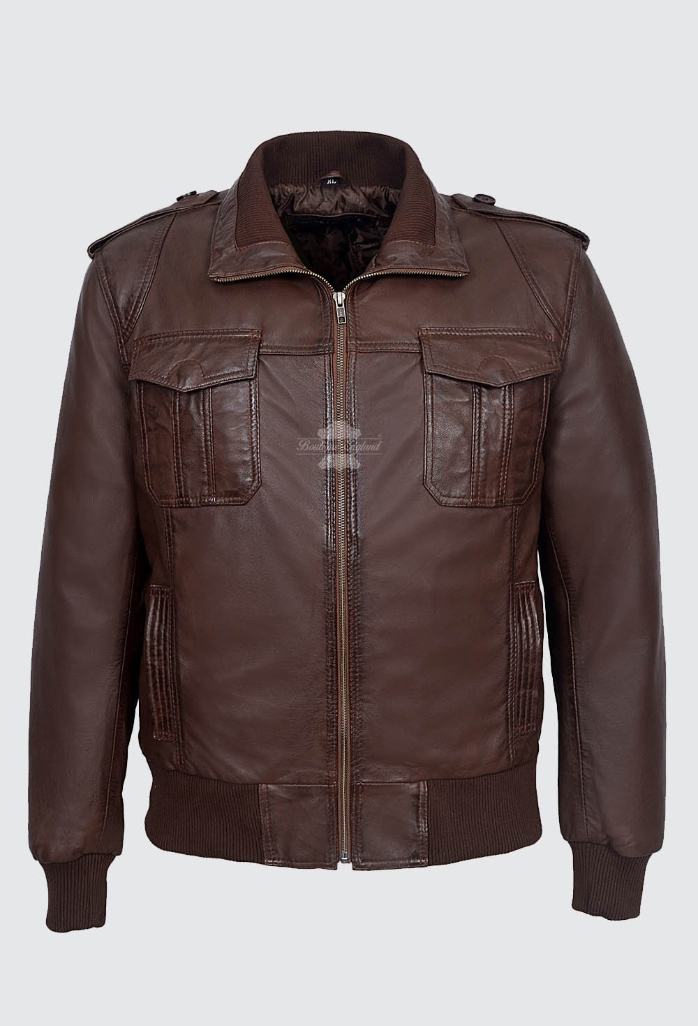 98015a8a1 MEN LEATHER PILOT JACKET BROWN | AVIATOR CLASSIC BOMBER STYLE 100% LEATHER  6996