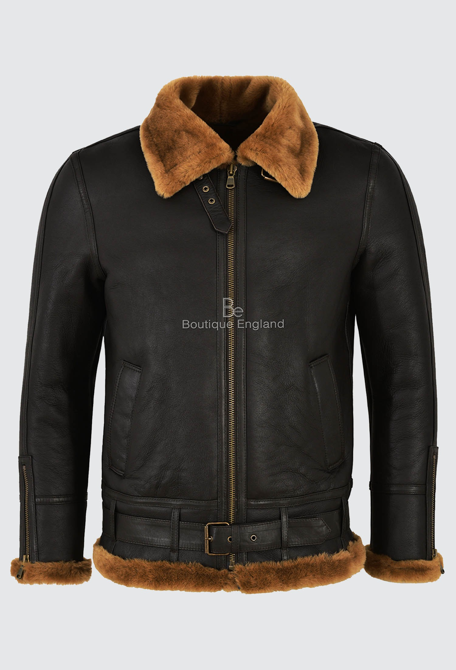Smart Range Men's B3 Brown Ginger Fur Shearling Sheepskin Leather Jacket Bomber RAF NV-47