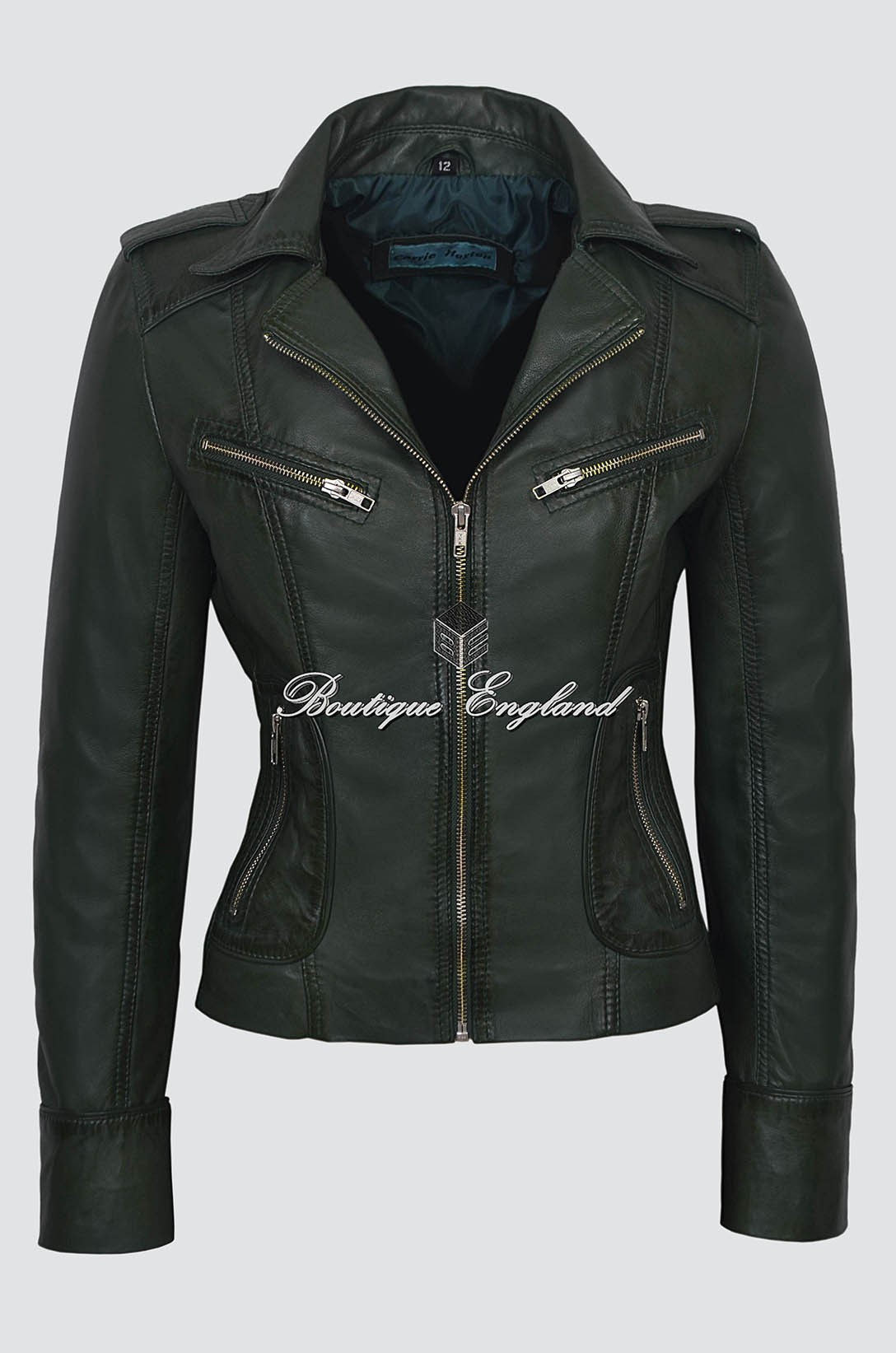 RIDER Ladies Green WASHED Biker Motorcycle Style Soft Real Napa Leather Jacket 9823