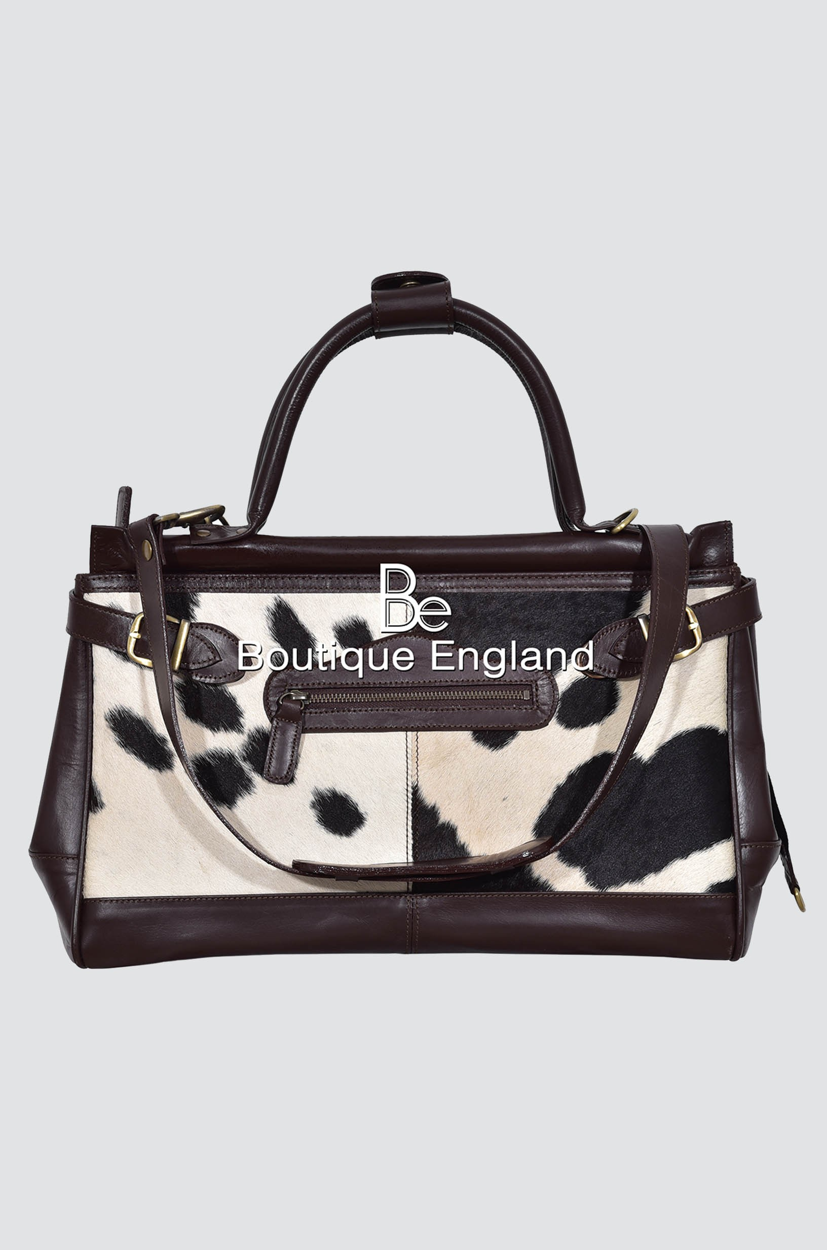 New Ladies Stylish Gladstone Brown COW Printed Fur Real Cow Leather Hand Bag