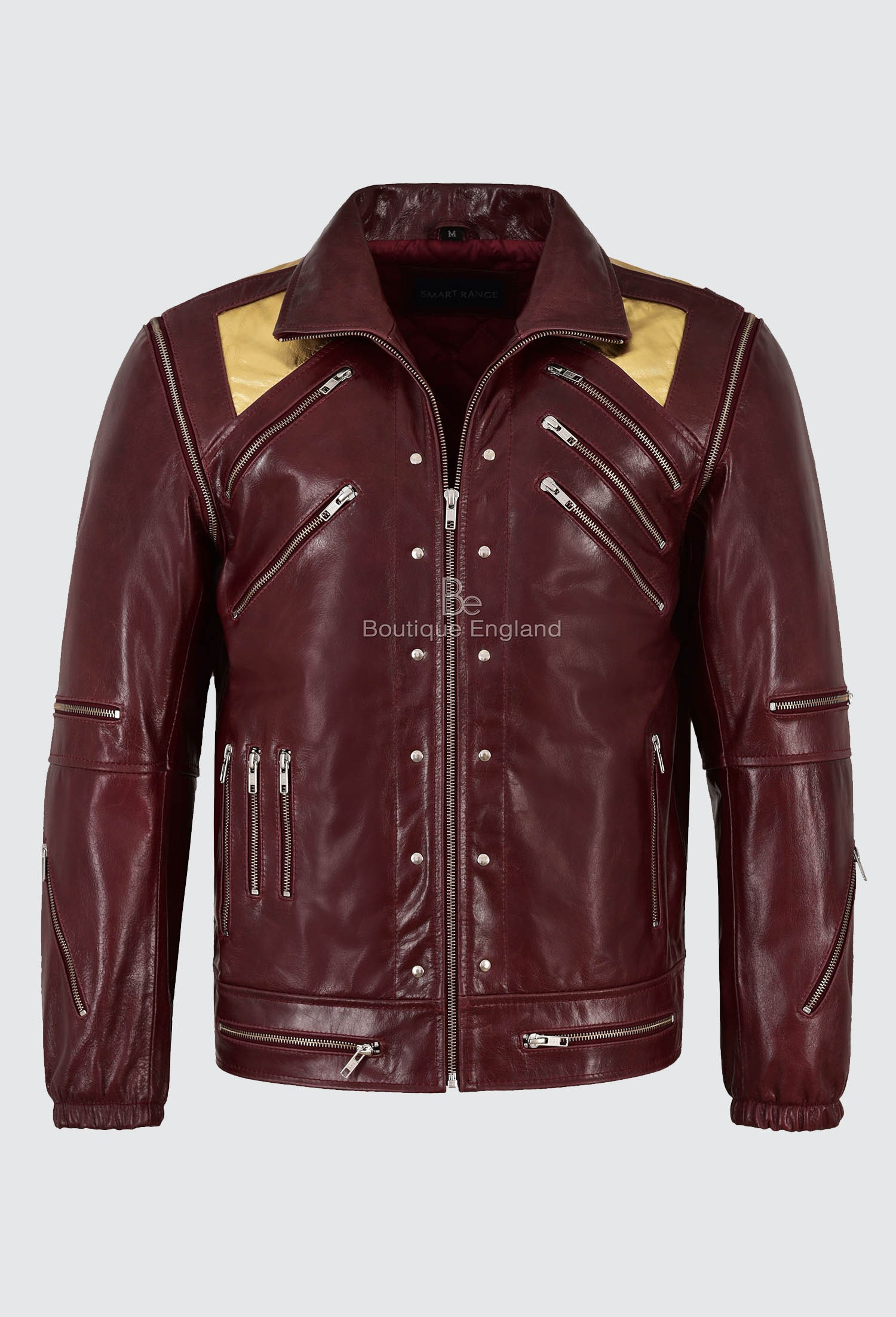Men's Real Leather Jacket Cherry Red Glaze Michael Jackson Music Style BEAT IT