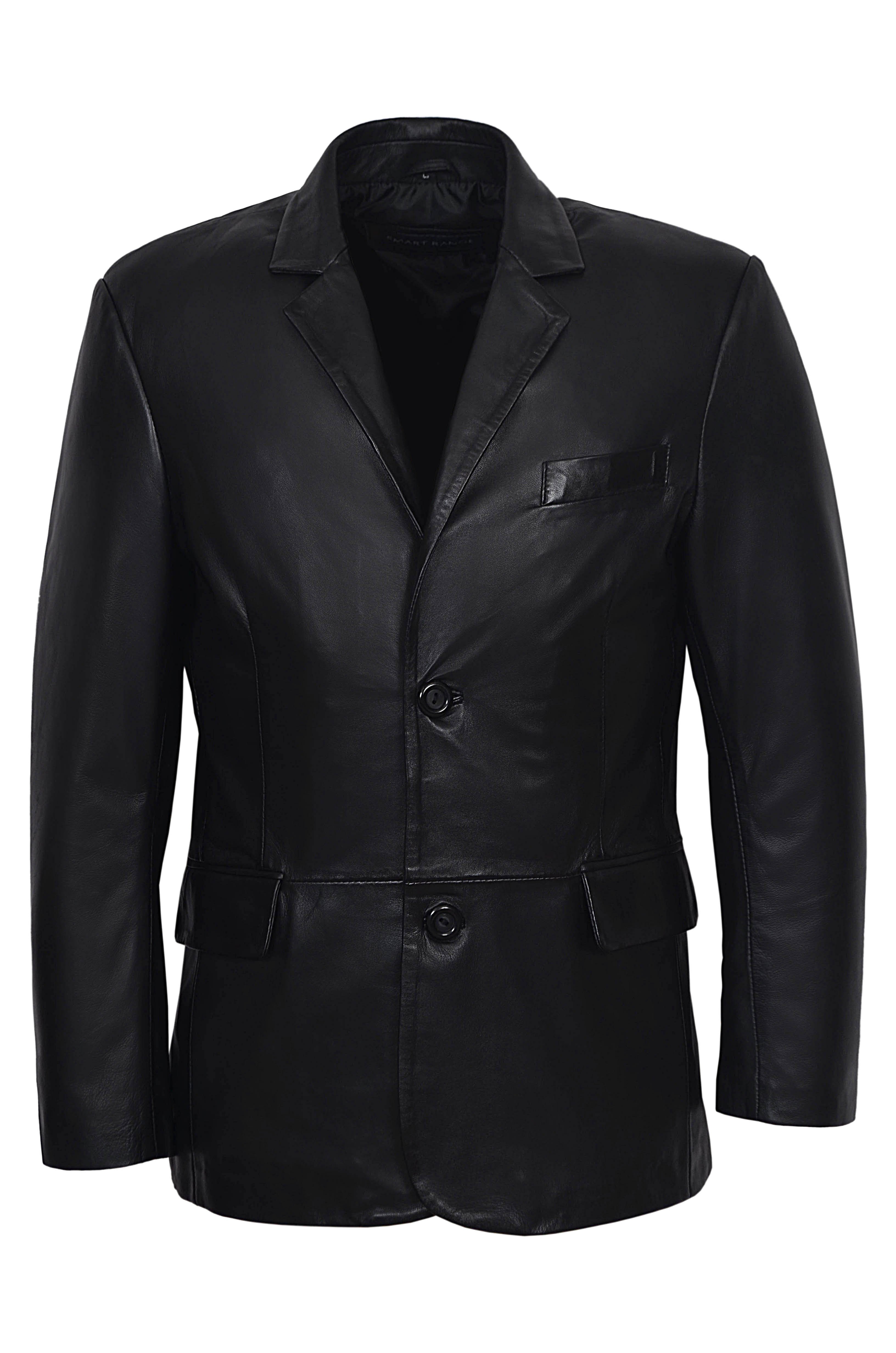 REAL BLACK CLASSIC BLAZER MEN'S TAILORED SOFT 4080 REAL NAPPA LEATHER JACKET COAT