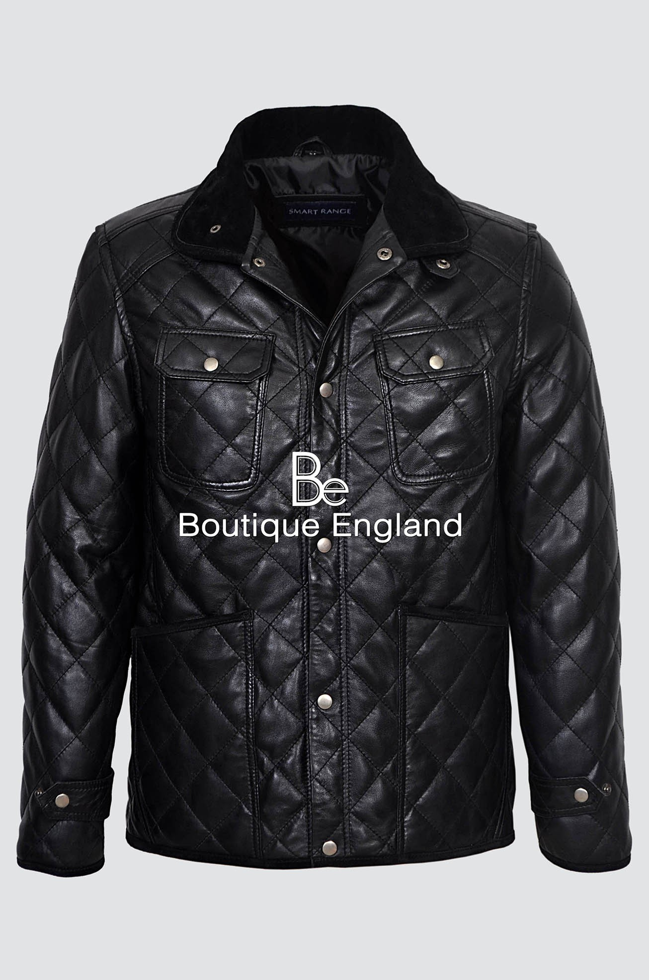 New Men's 2396 Black Quilted Biker Style Vintage Soft Nappa Real Leather Jacket