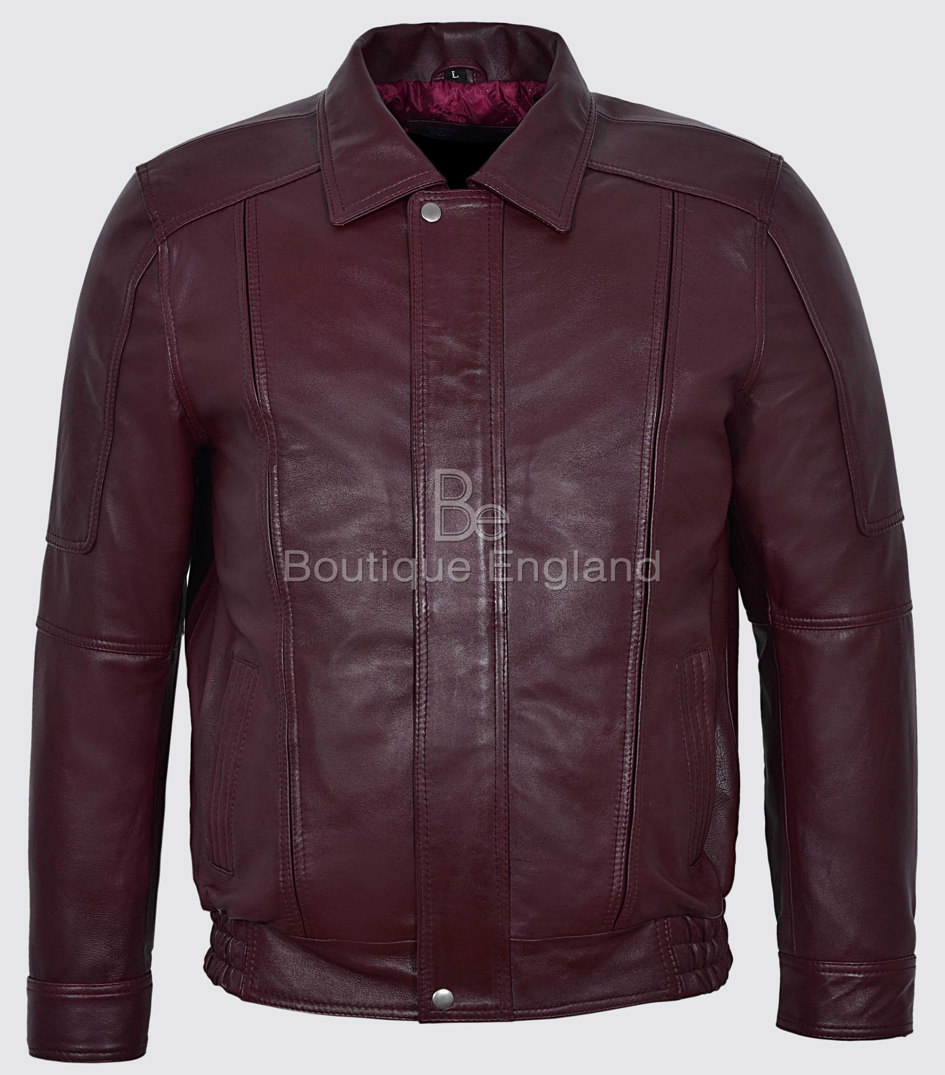 9333fa3c8 Joshua New Mans Cherry Red Blouson Real Soft Napa Leather Bomber Jacket 6011