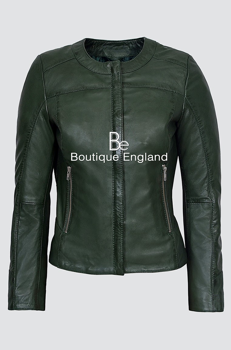 Ladies 5328 Dark Green Stylish Fashion Designer Quilted Soft Real Leather Jacket