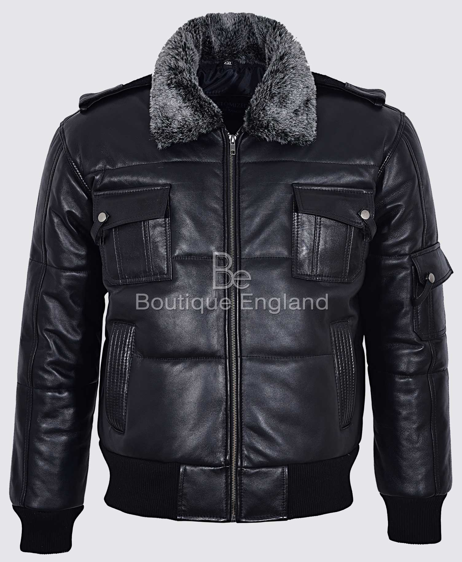 Pilot 8 Puffer Men's Black Fur Collar Bomber Air Force 100 % Real Leather Jacket