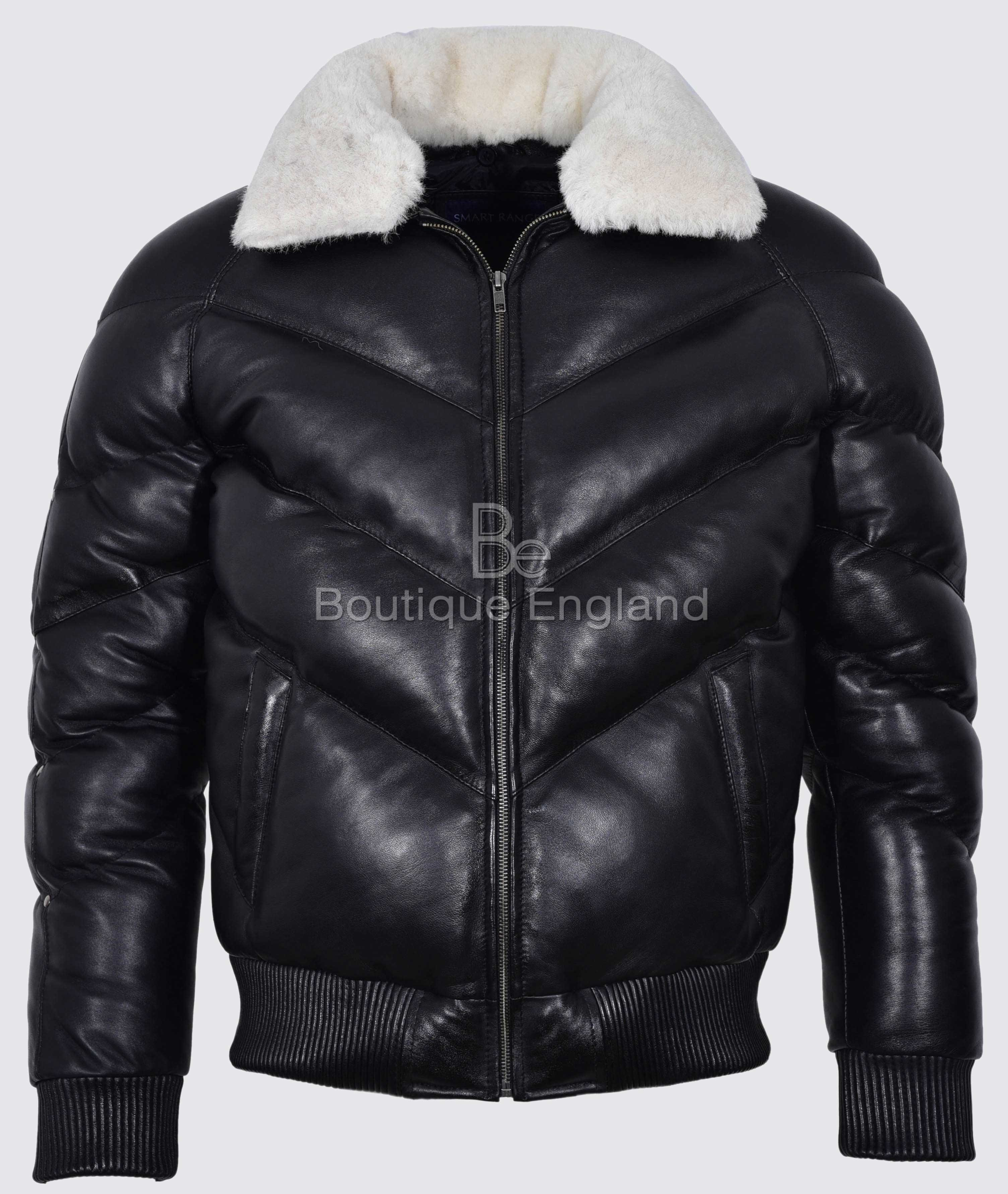 ACE Men's Puffer Black Real Leather Jacket White Shearling Collar Winter Warm