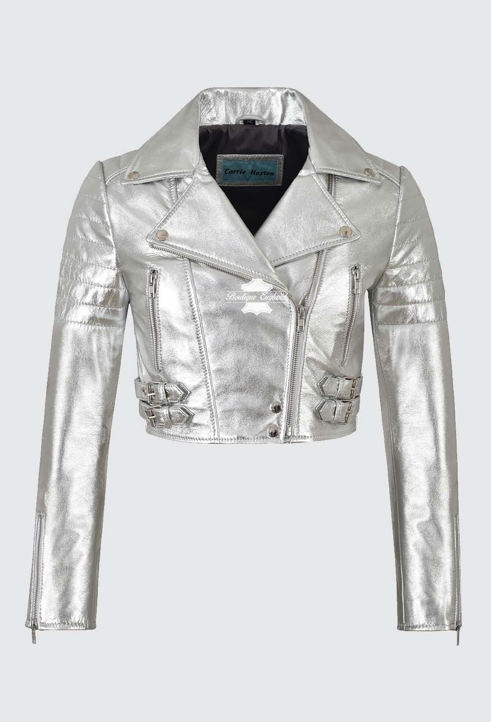 Ladies High Waist Rock-Chick Cropped Silver Foil Real Lambskin Jacket 5625