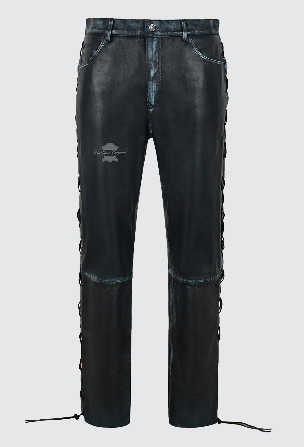 Men's Biker Laced Navy Vintage Leather Trousers 100% Lambskin Riding Pants 00126