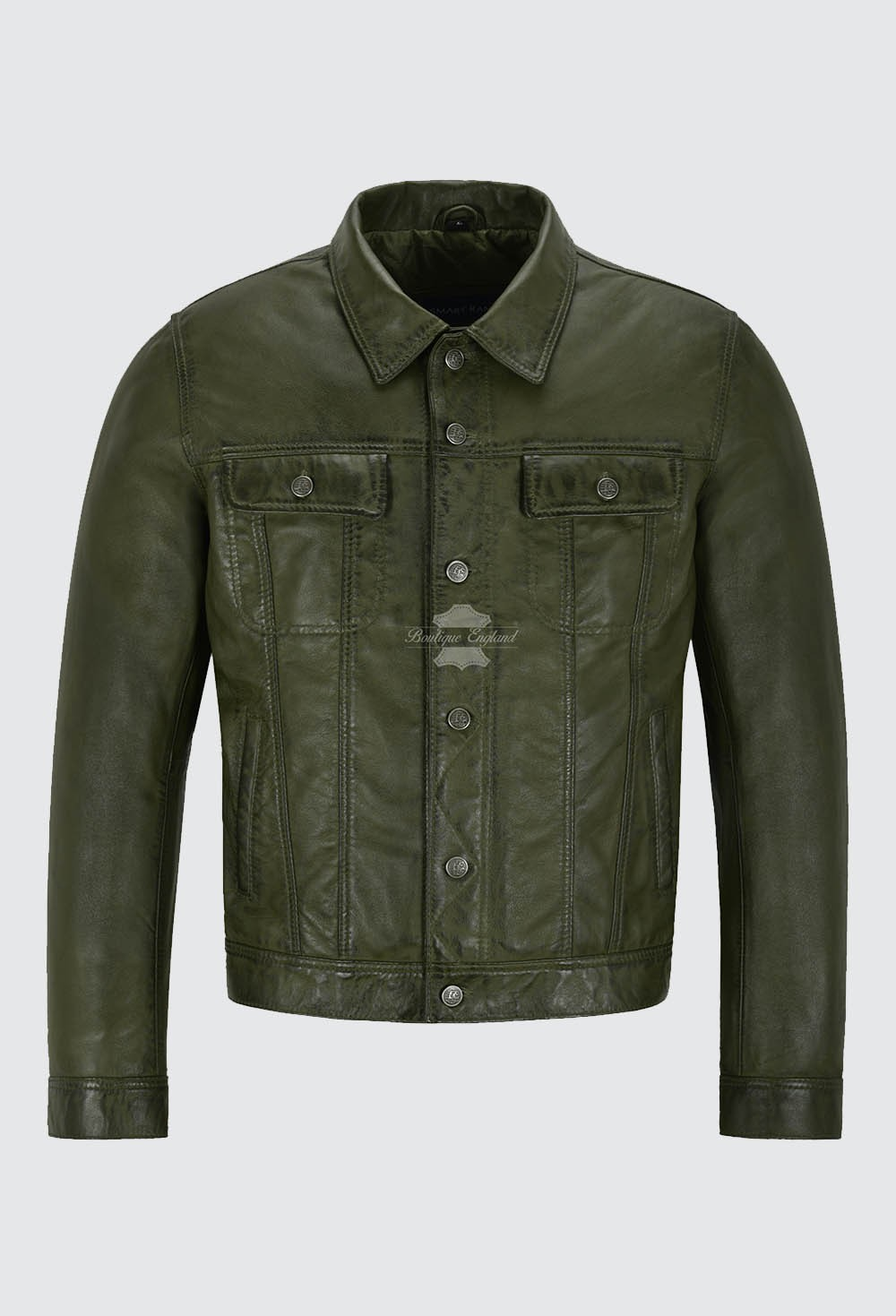 Men's Trucker Leather Jacket Olive Napa Classic Western Fashion Biker Style 1280