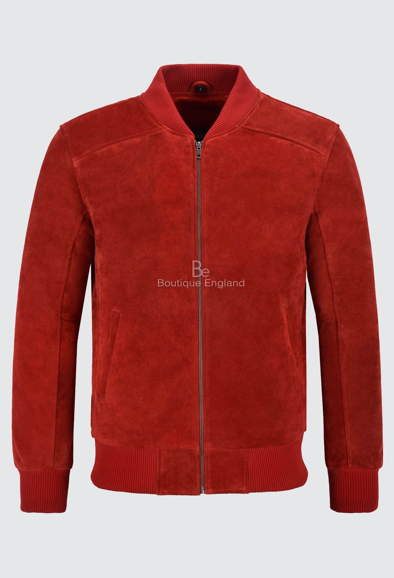 Men's 70's Real Leather Jacket Red Suede Retro Bomber Classic Biker Style 275-P