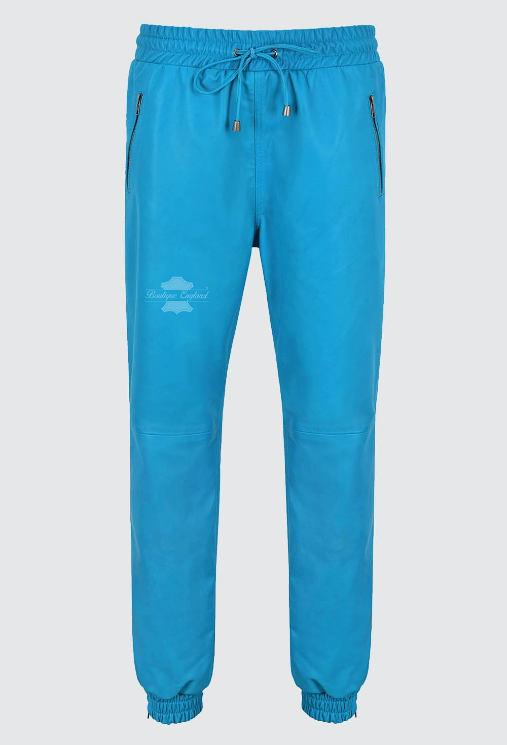 Men's Real Leather Trouser Sweat Track Electric Blue Pant Zip Jogging Bottom 3040
