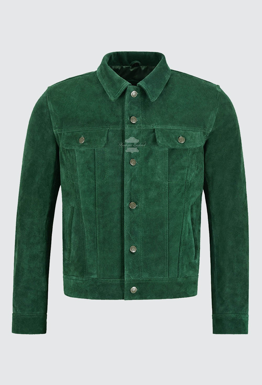 Men's Trucker Real Leather Jacket Green Suede Casual Fashion Biker Style 1280