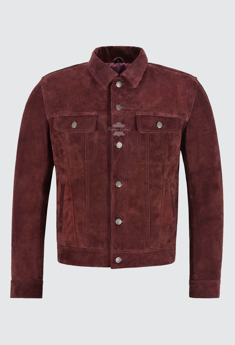 Men's Trucker Real Leather Jacket Cherry Suede Casual Fashion Biker Style 1280