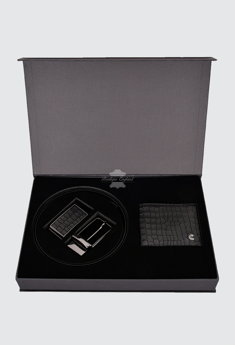 Men's Gift Box Leather Gift Set Leather Wallet and Reversible Belt With 2 Buckles
