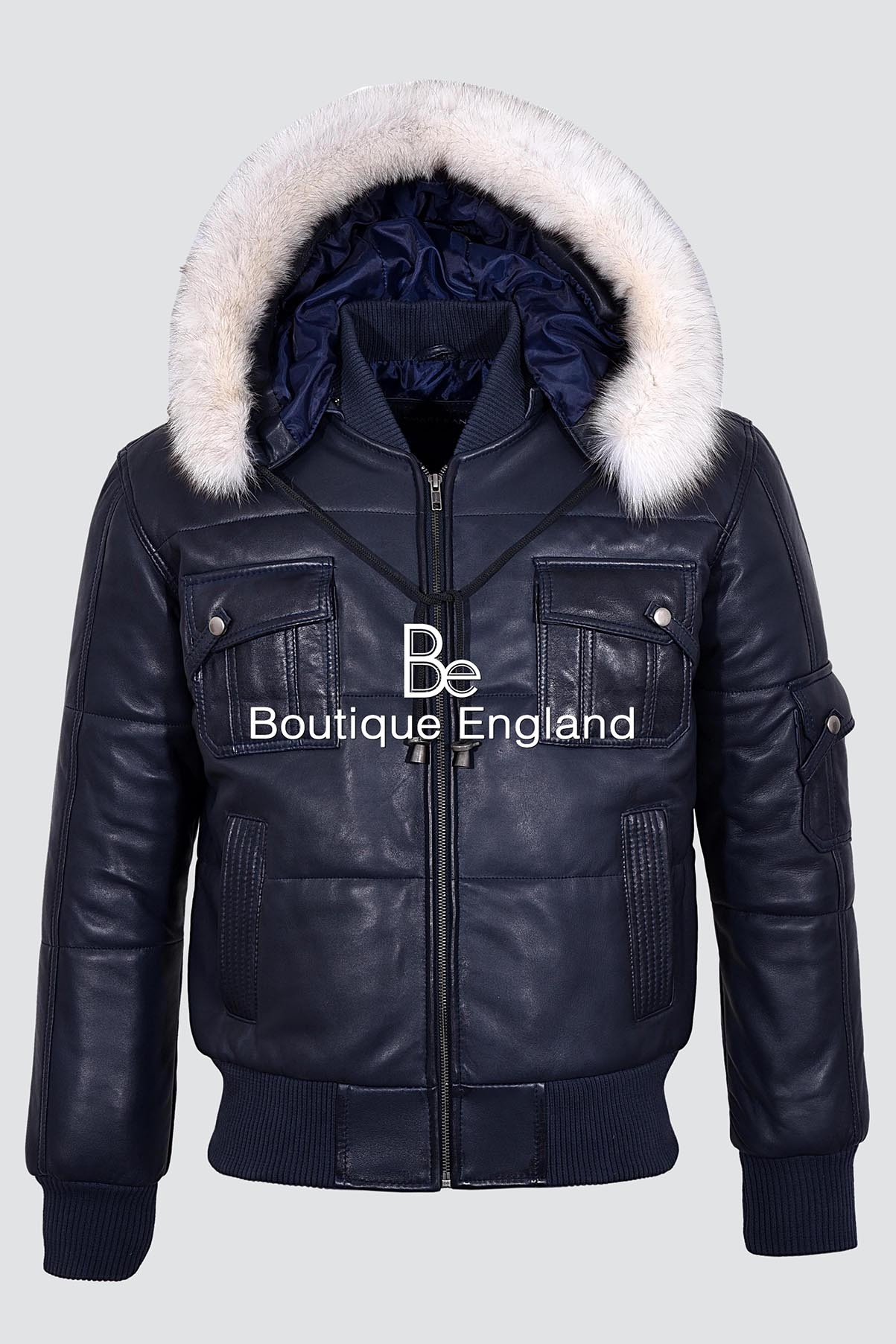 f1cf5b345f Men's PILOT SIX PUFFER Navy Blue Hooded Bomber Genuine Real Leather Jacket