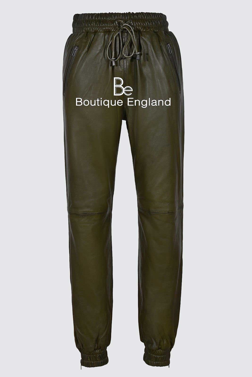 Men's Olive Green Napa Fashion Celebrity Trousers Leather Jogging Bottom 3040