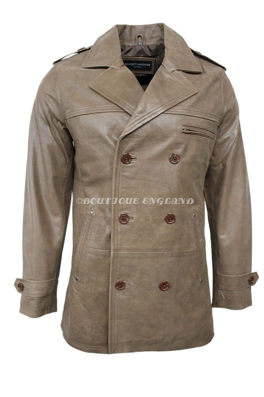 Men/'s PEA COAT Khaki Dr Who REAL COWHIDE Classic Reefer Military Leather Jacket